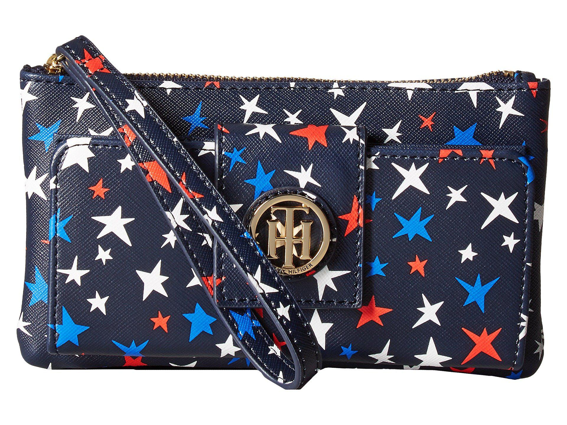 15cde1f627 Lyst - Tommy Hilfiger Th Serif Signature Front-snap Wristlet in Blue
