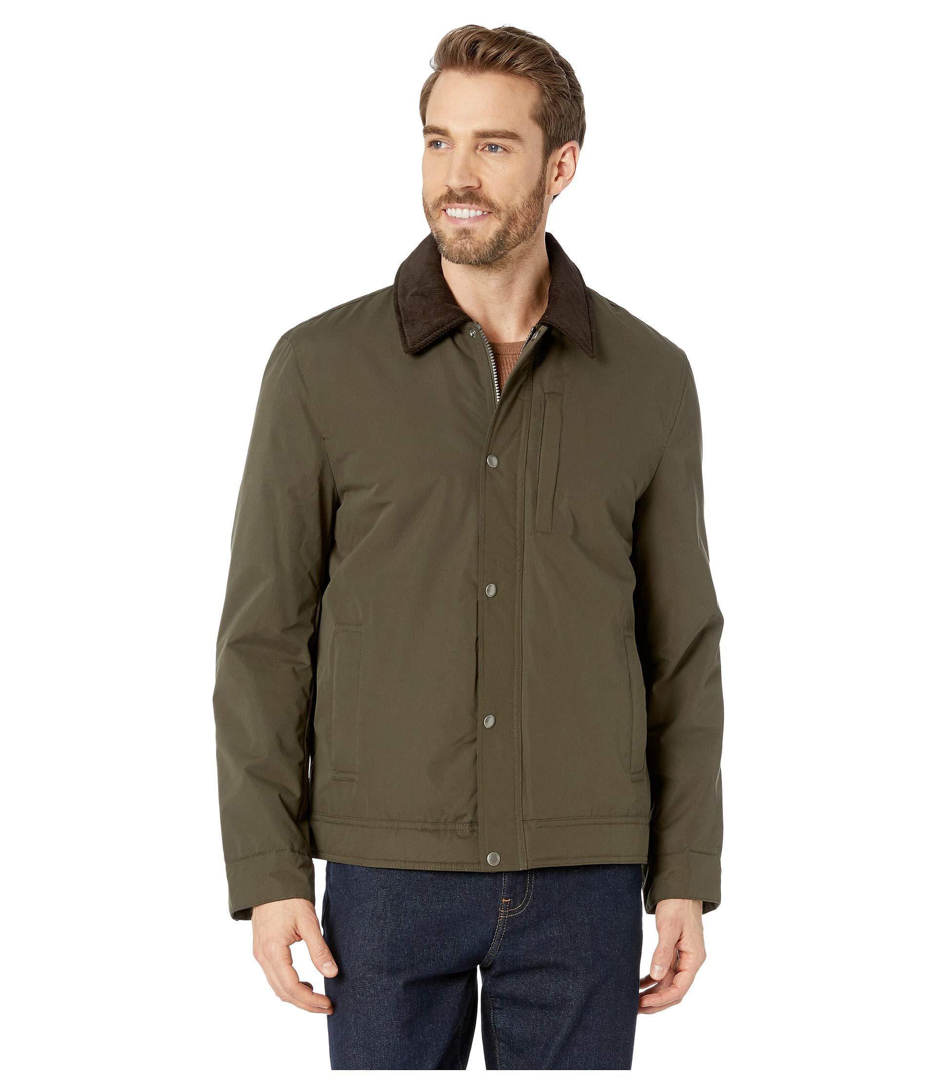 Lyst Cole Haan City Rain Padded Barn Jacket With Corduroy Collar