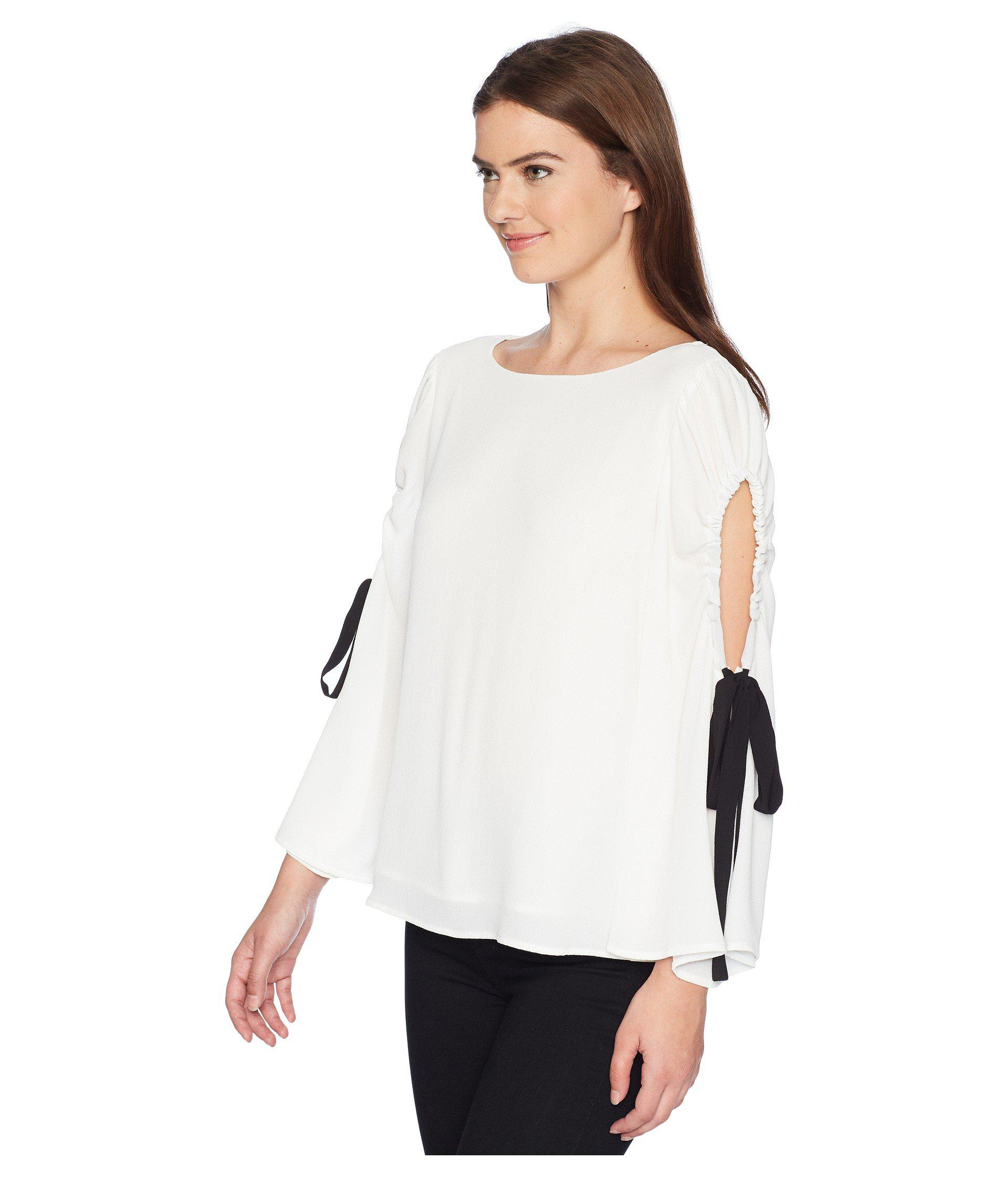 7af47ae7554ff Lyst - Vince Camuto Bell Sleeve Tie Cold Shoulder Blouse in White - Save 47%