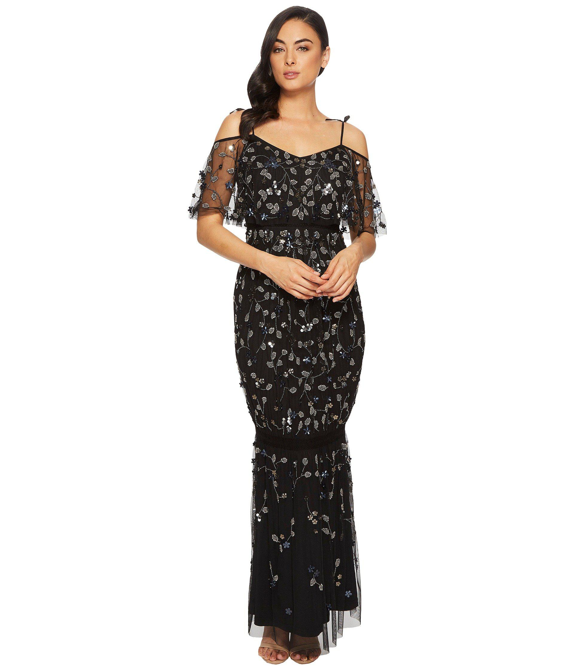 fe3b161617c Adrianna Papell Long 3d Beaded Boho Gown With Tie Shoulder Detail in ...