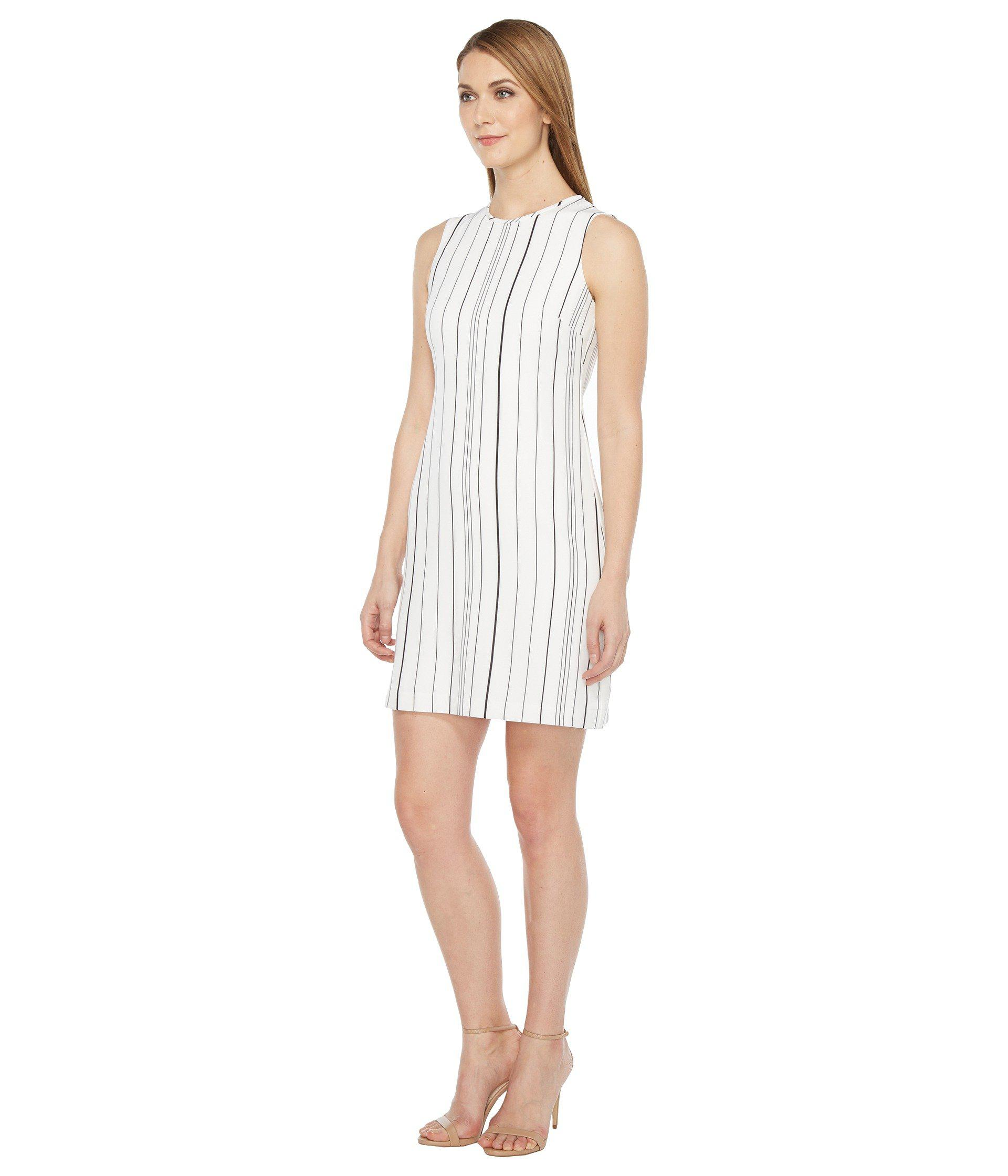 5a10f689 Lyst - Calvin Klein Sleeveless Stripe Trapeze Dress Cd7eyc2r in White