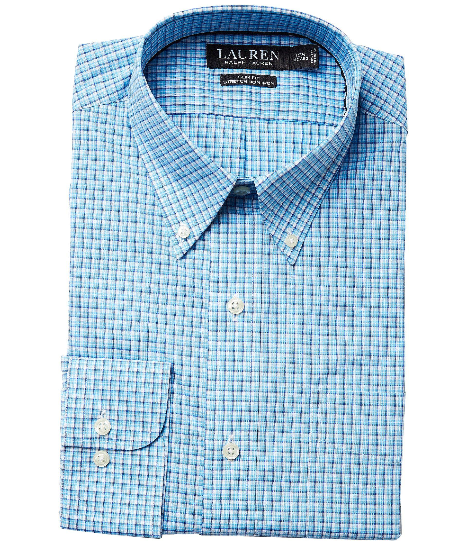 5d35e2a7528 Lyst - Lauren by Ralph Lauren Slim Fit Non Iron Broadcloth Plaid ...