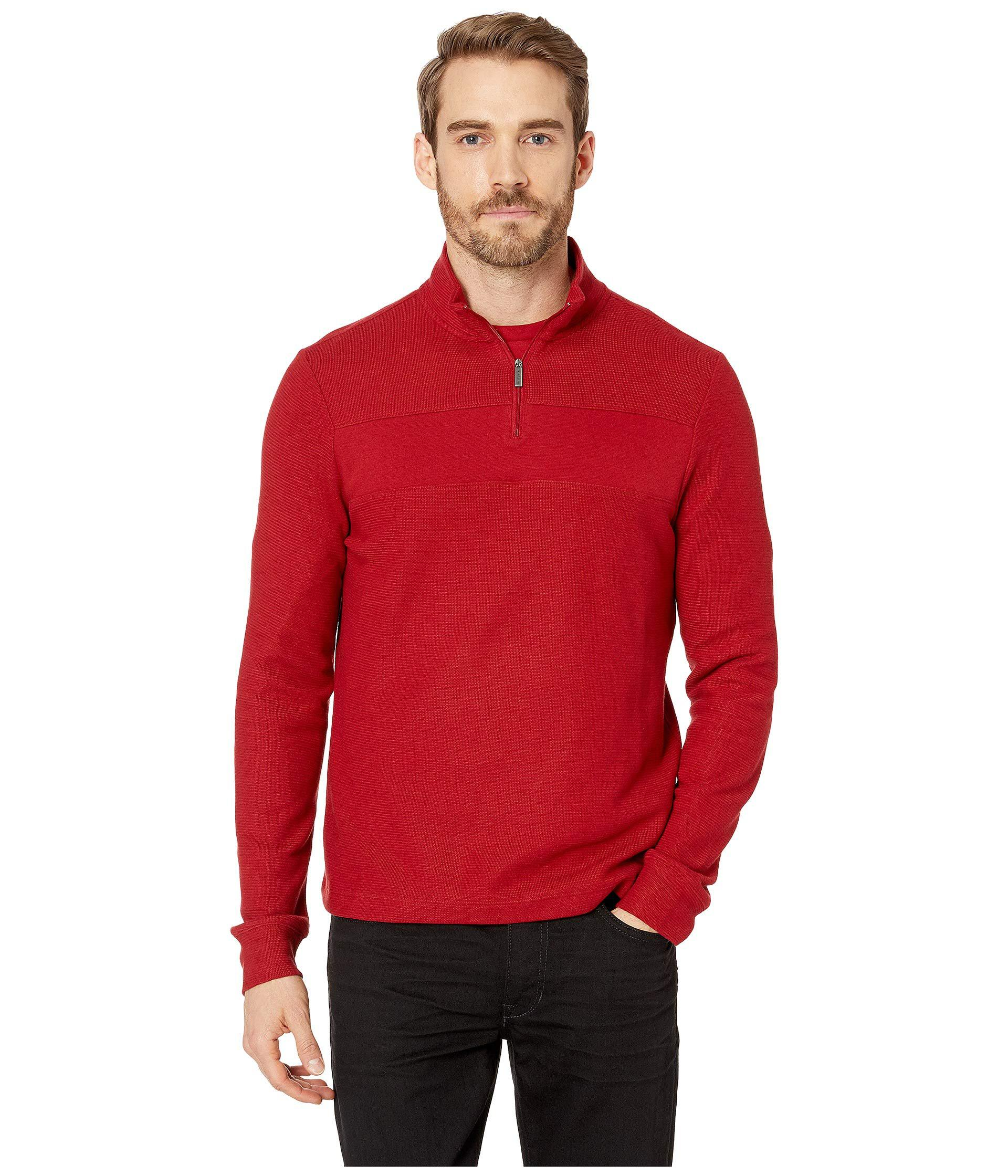 Lyst - Perry Ellis Regular Fit 1 4 Zip Jacquard Sweater in Red for ... 6b0a60be1