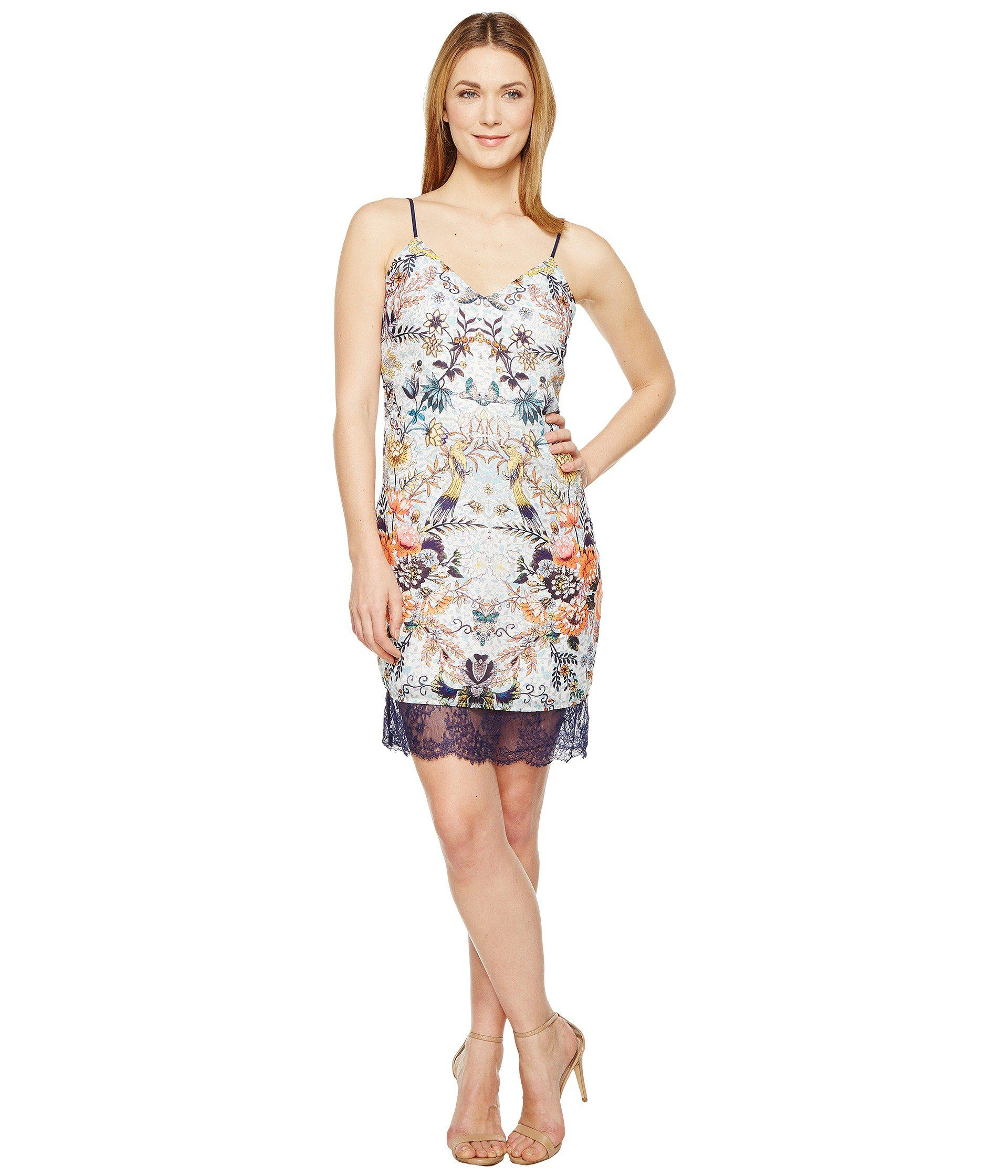 6838c14d60571 Lyst - Adelyn Rae Lydia Woven Printed Slip Dress in White - Save 53%
