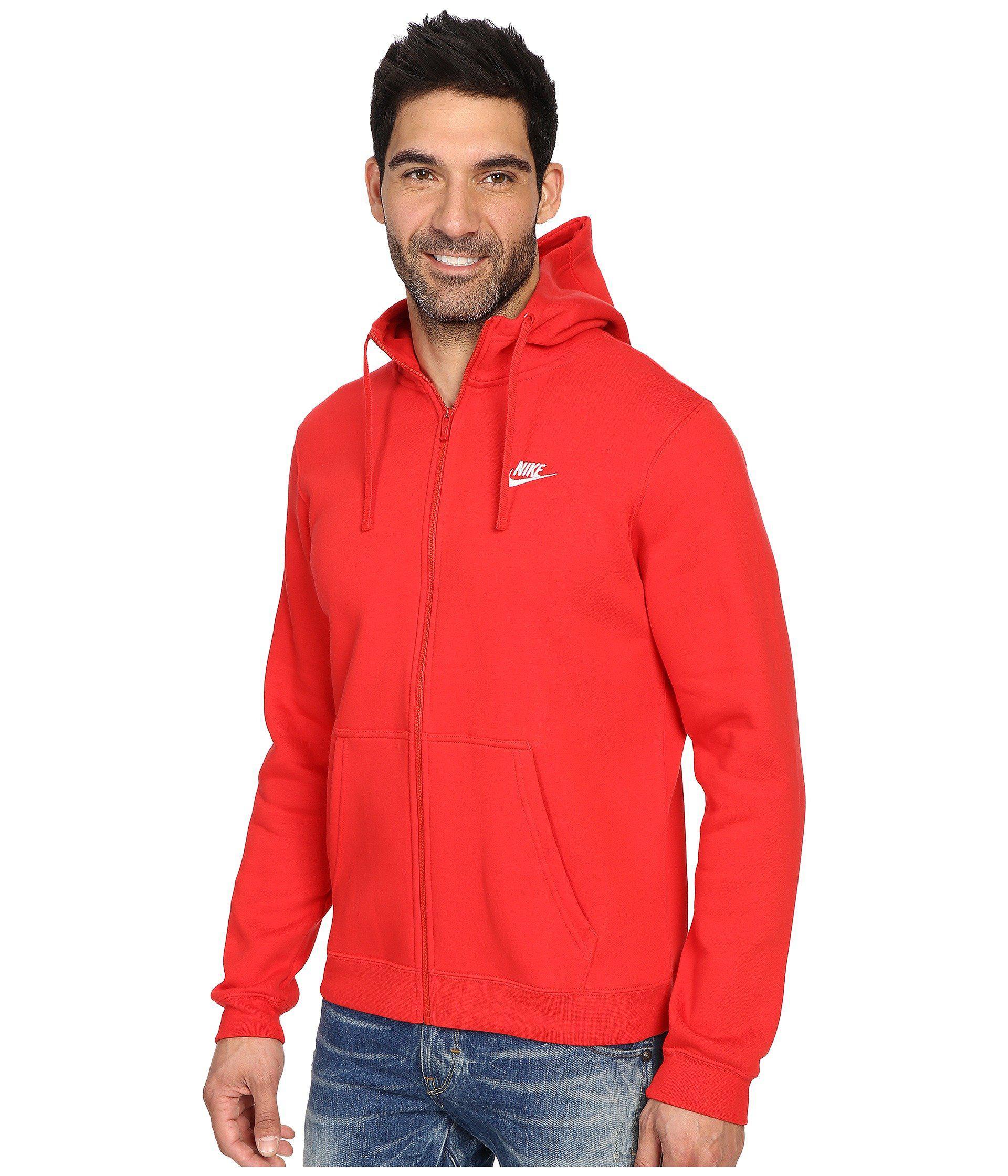 c50db20437a Lyst - Nike Club Fleece Full-zip Hoodie in Red for Men