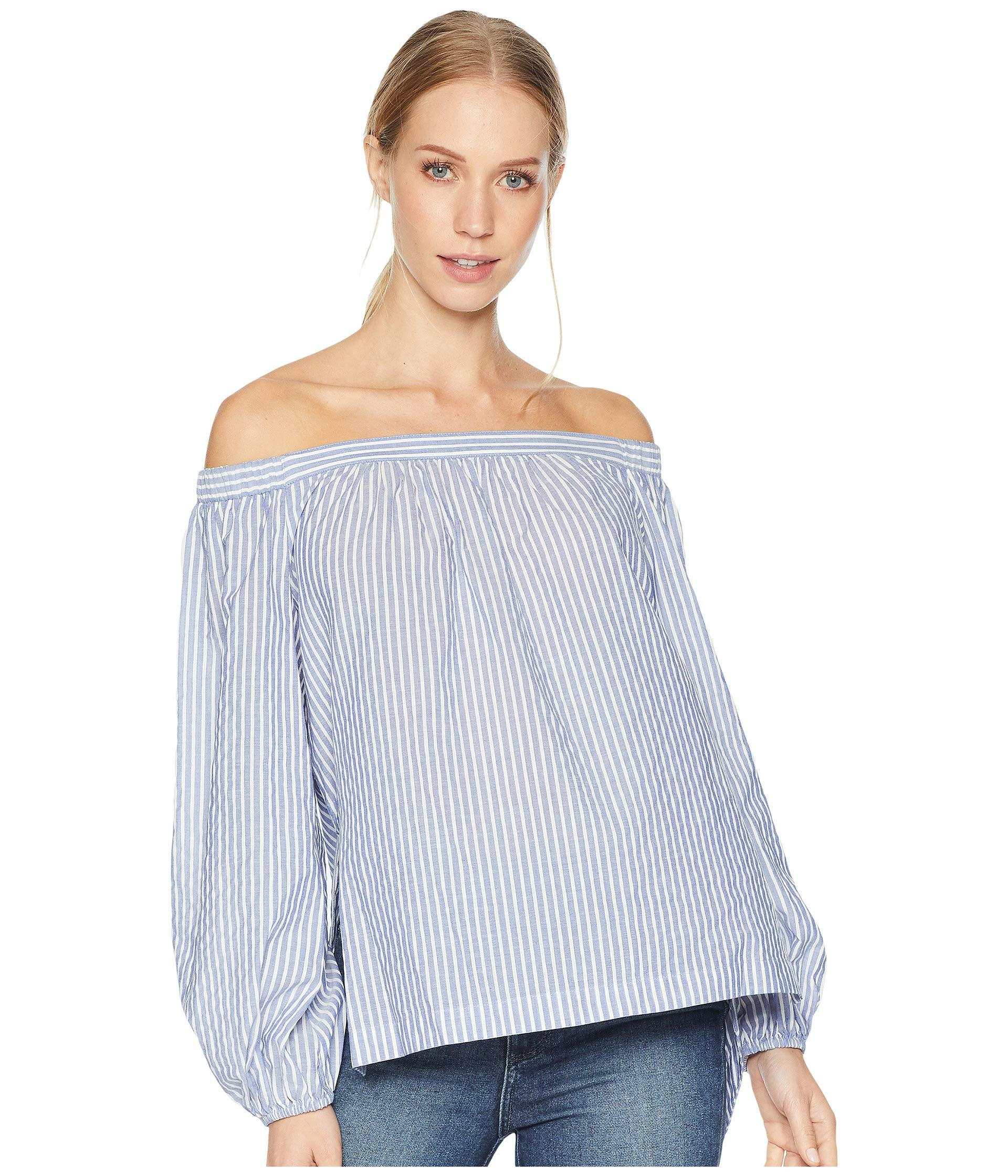 569f0d9bccb9a1 Lyst - BCBGMAXAZRIA Elsie Off Shoulder Peasant Sleeve Top in Blue ...