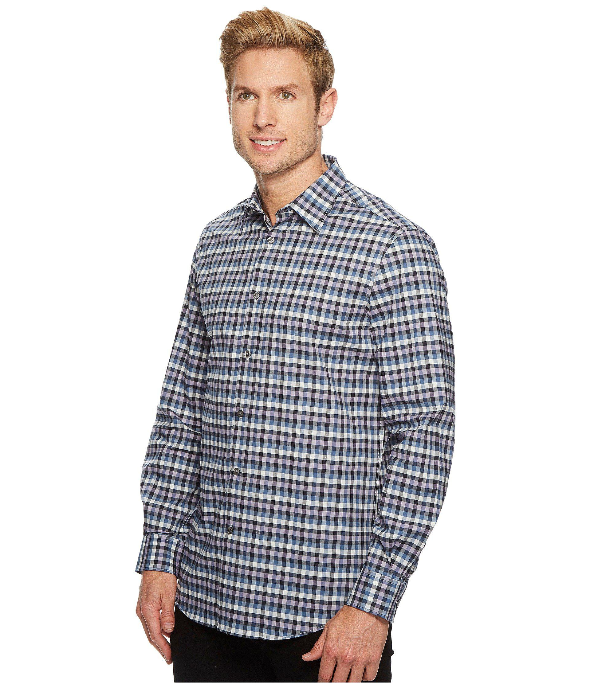 4adac527e120 Lyst - Perry Ellis Checker Plaid Shirt in Blue for Men - Save 45%