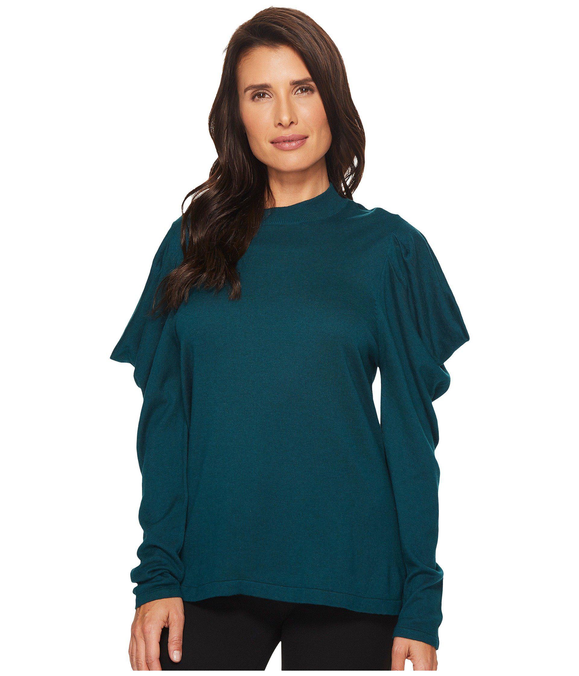 6743e439cdf74 Vince Camuto. Women s Green Long Sleeve Mock Neck Drape Shoulder Sweater