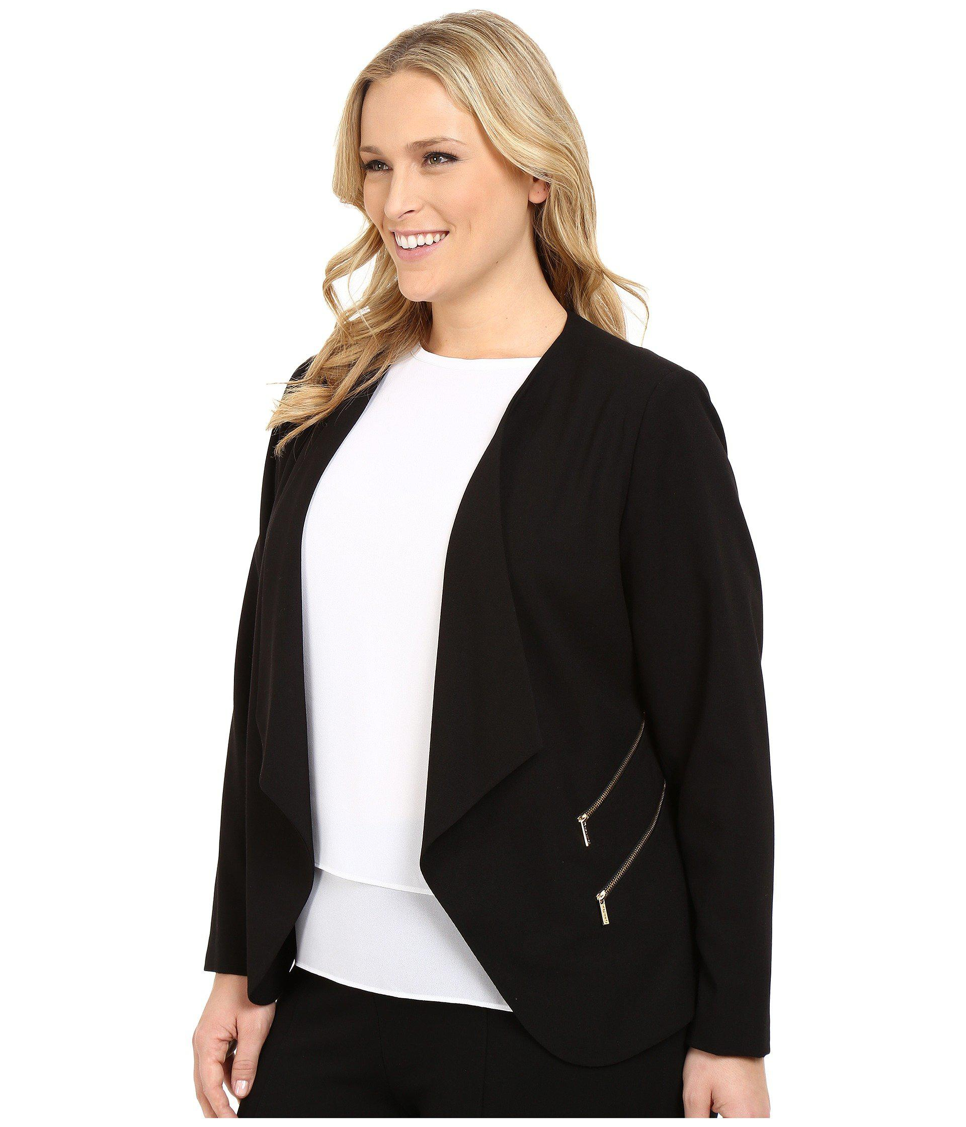 99ecc891e6b Lyst - Calvin Klein Plus Size 2 Zipper Jacket W  Fly Away in Black - Save  20%
