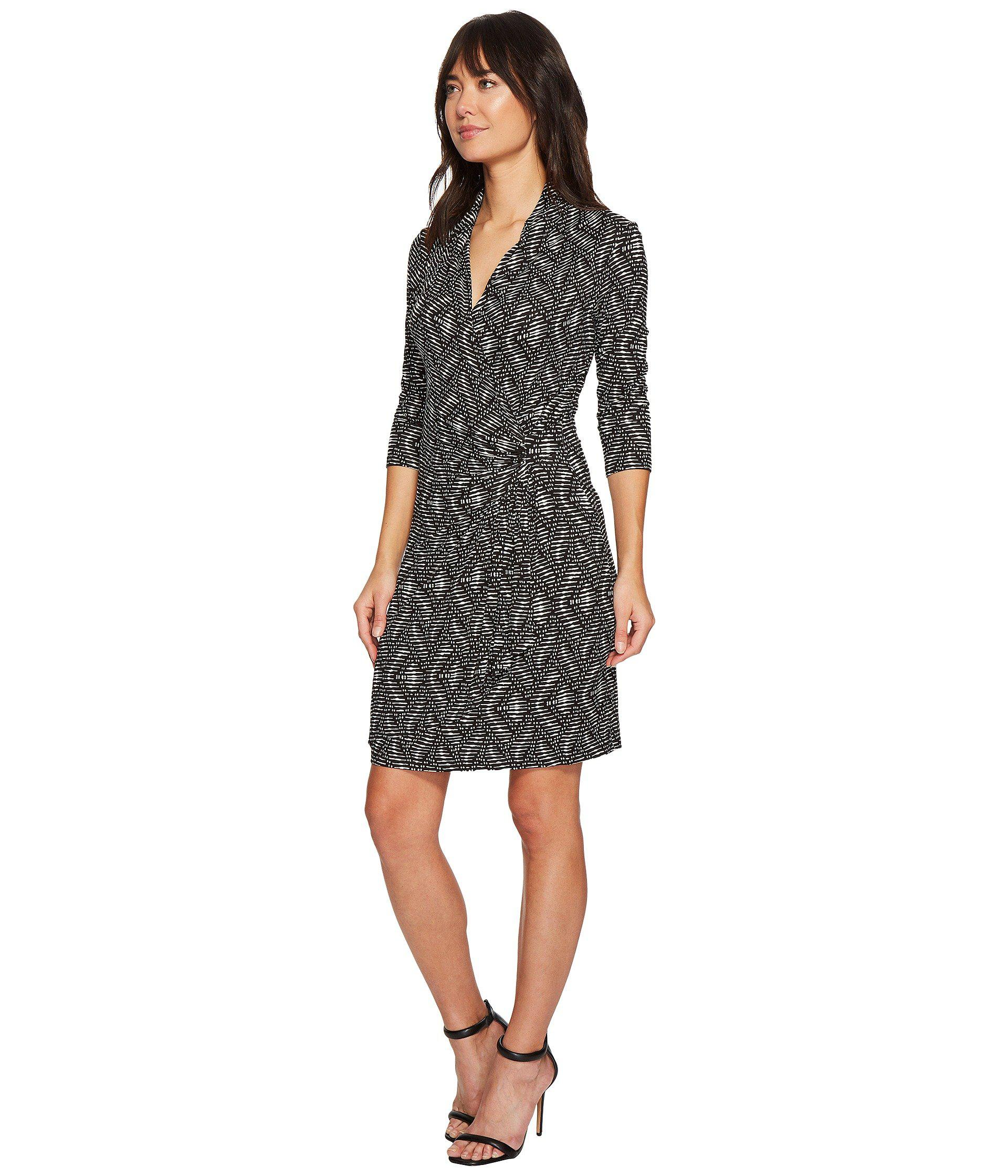51c4957e3f3 Lyst - Karen Kane 3 4 Sleeve Cascade Wrap Dress in Black - Save  54.54545454545455%