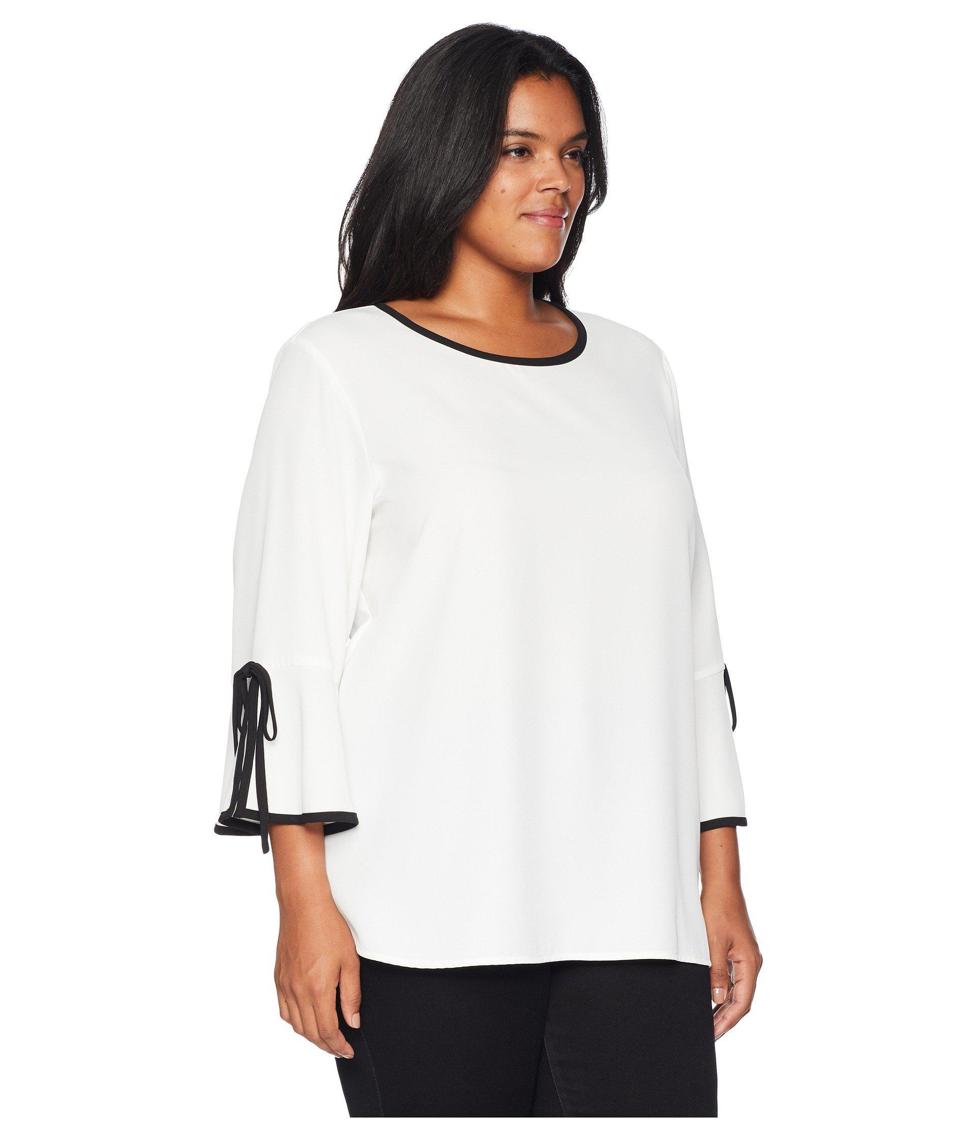 510e25c471e04d Calvin Klein - White Plus Size Long Sleeve Blouse W  Tie Wrist - Lyst. View  fullscreen