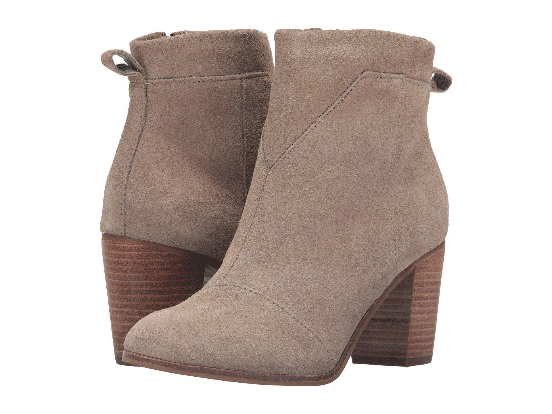 221b8fdb27f Lyst - Toms Lunata Bootie (desert Taupe Suede Perforated) Women s ...