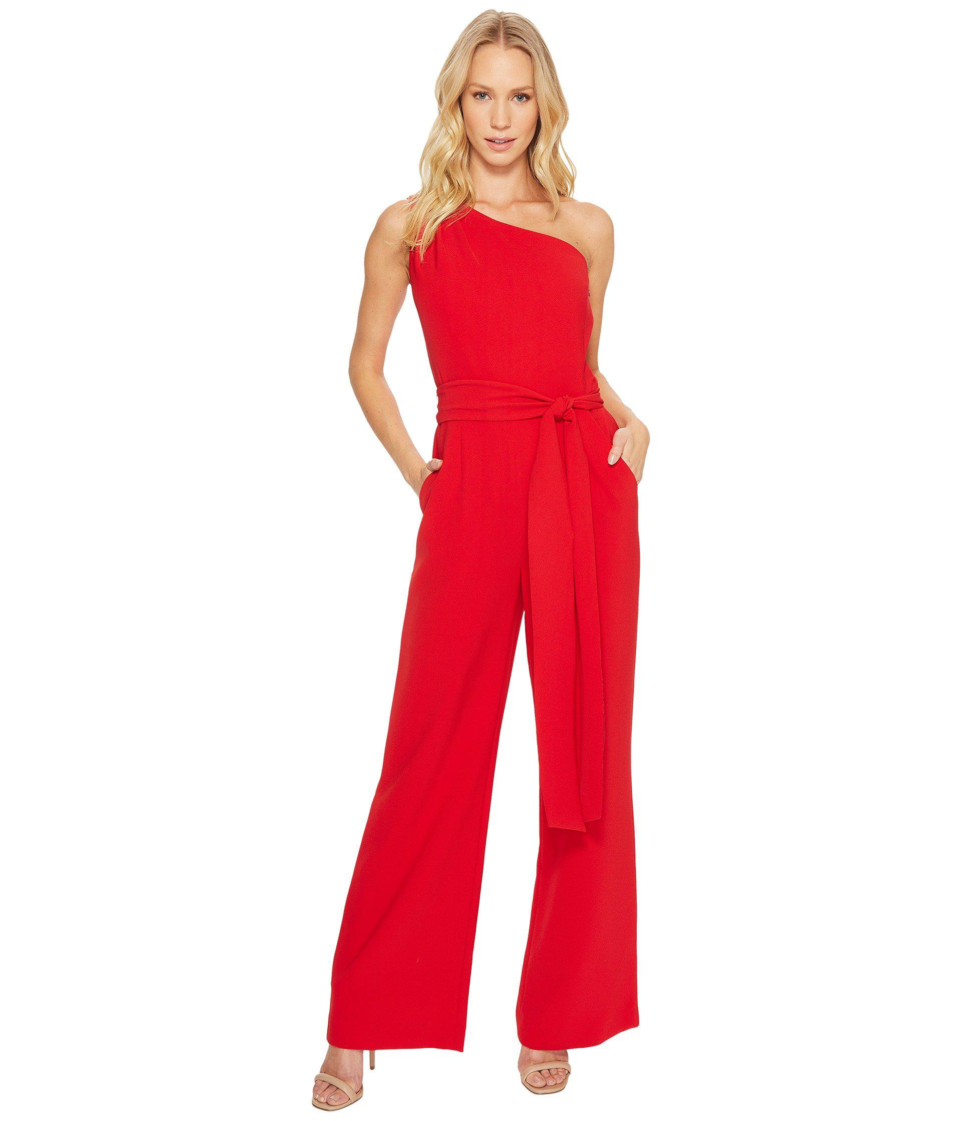 e6a90b6db02 Lyst - Tahari One-shoulder Jumpsuit in Red