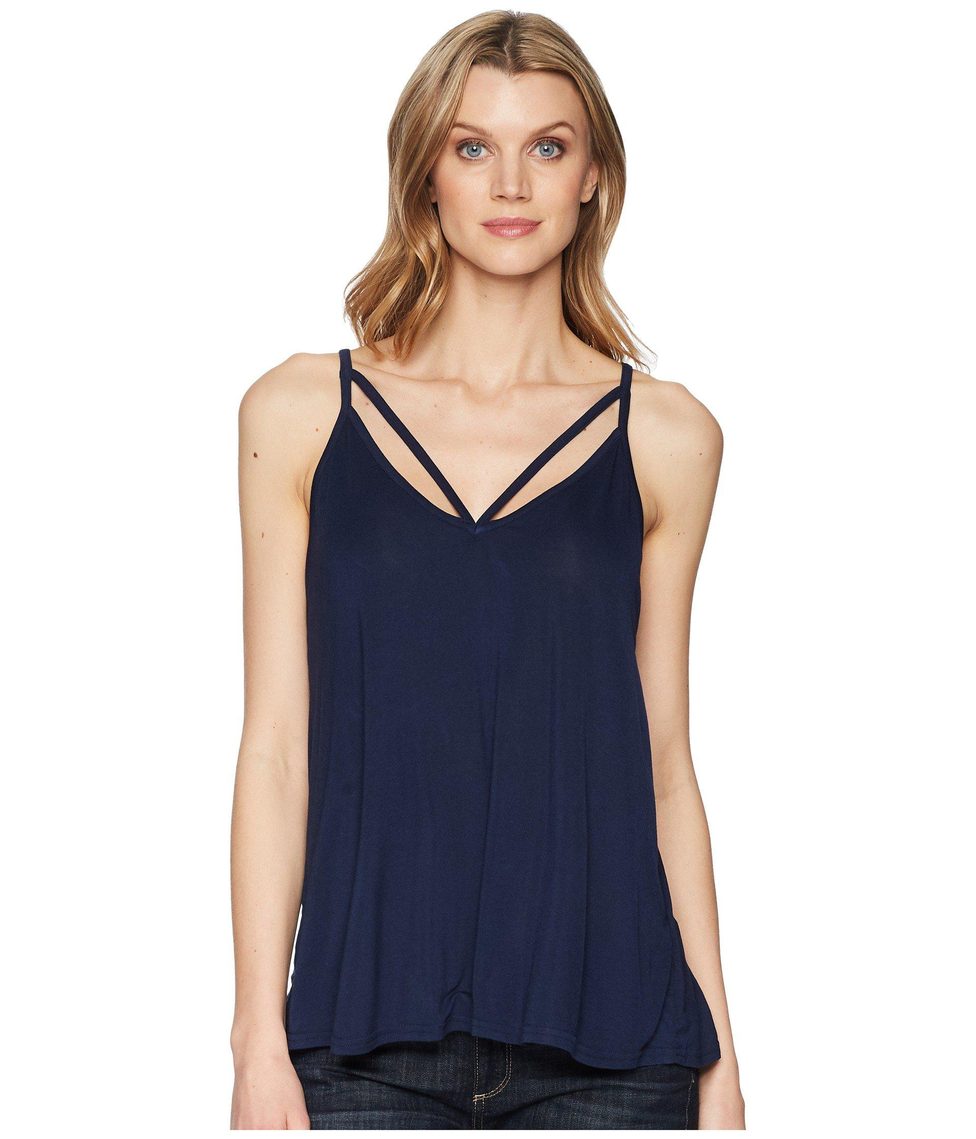 8ce880a366044 Lyst - Stetson 1578 Rayon Knit V-neck Strappy Tank Top in Blue ...