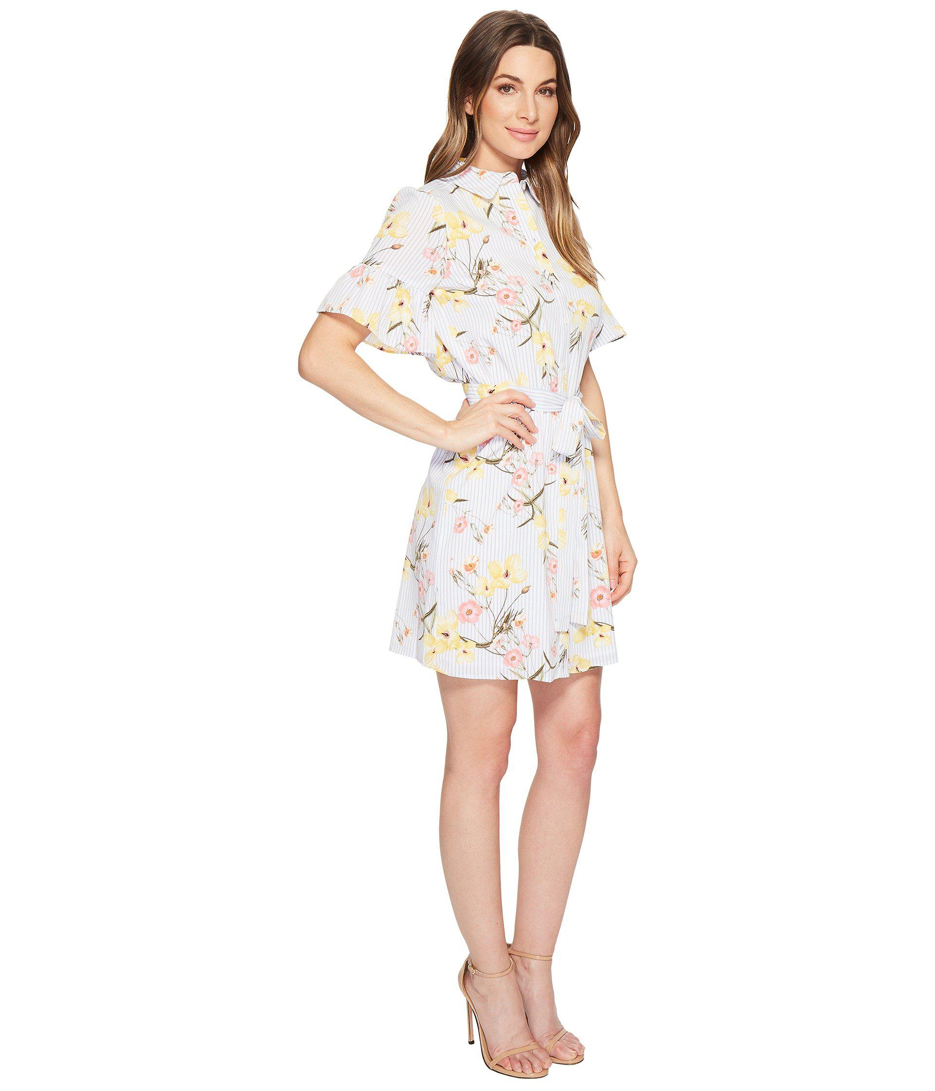 b52f90a5a5a Cece Botanical Blooms Shirtdress W/ Ruffle Sleeve (ultra White ...