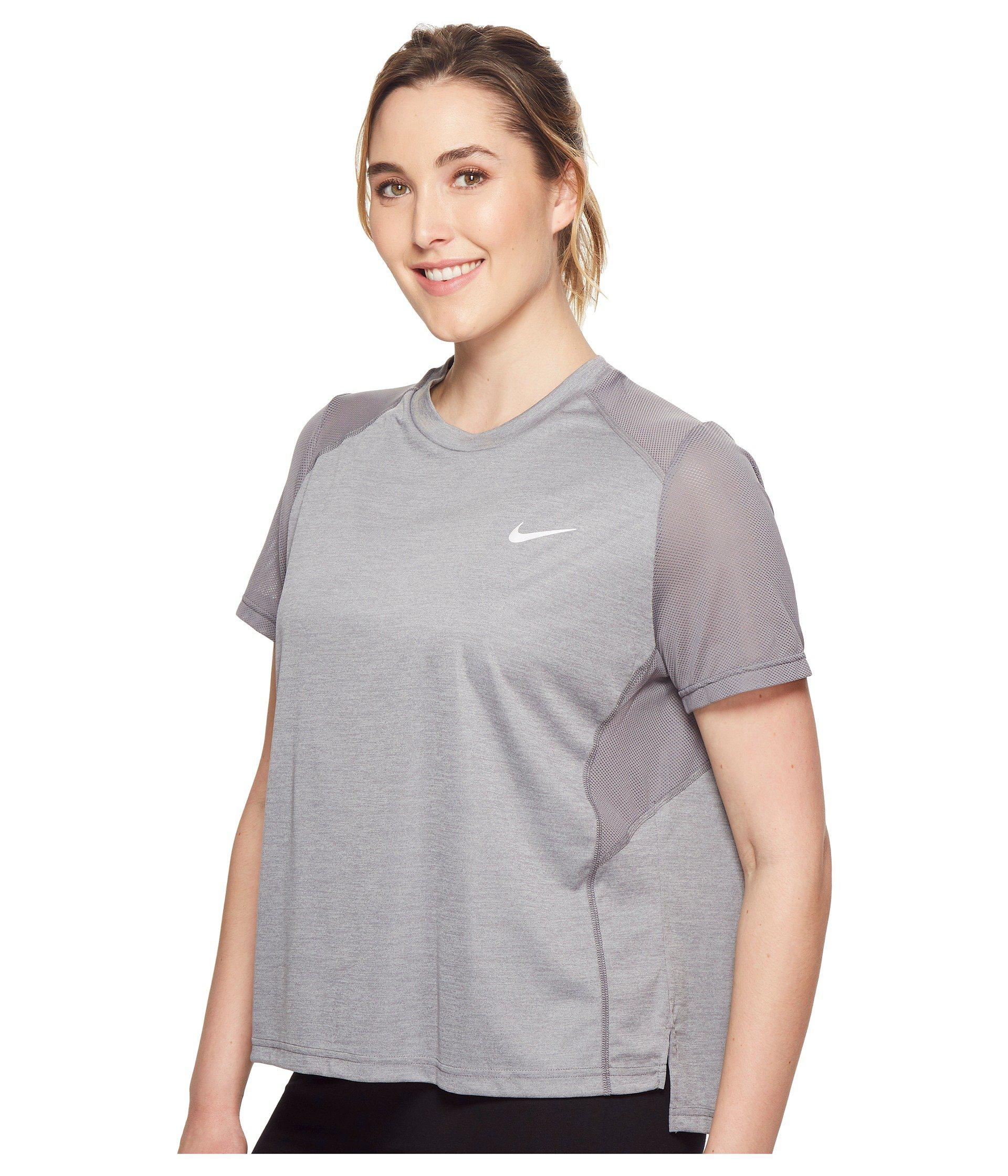 reputable site 7ca4f 65739 Lyst - Nike Dry Miler Short-sleeve Running Top (sizes 1x-3x) in Gray - Save  35%