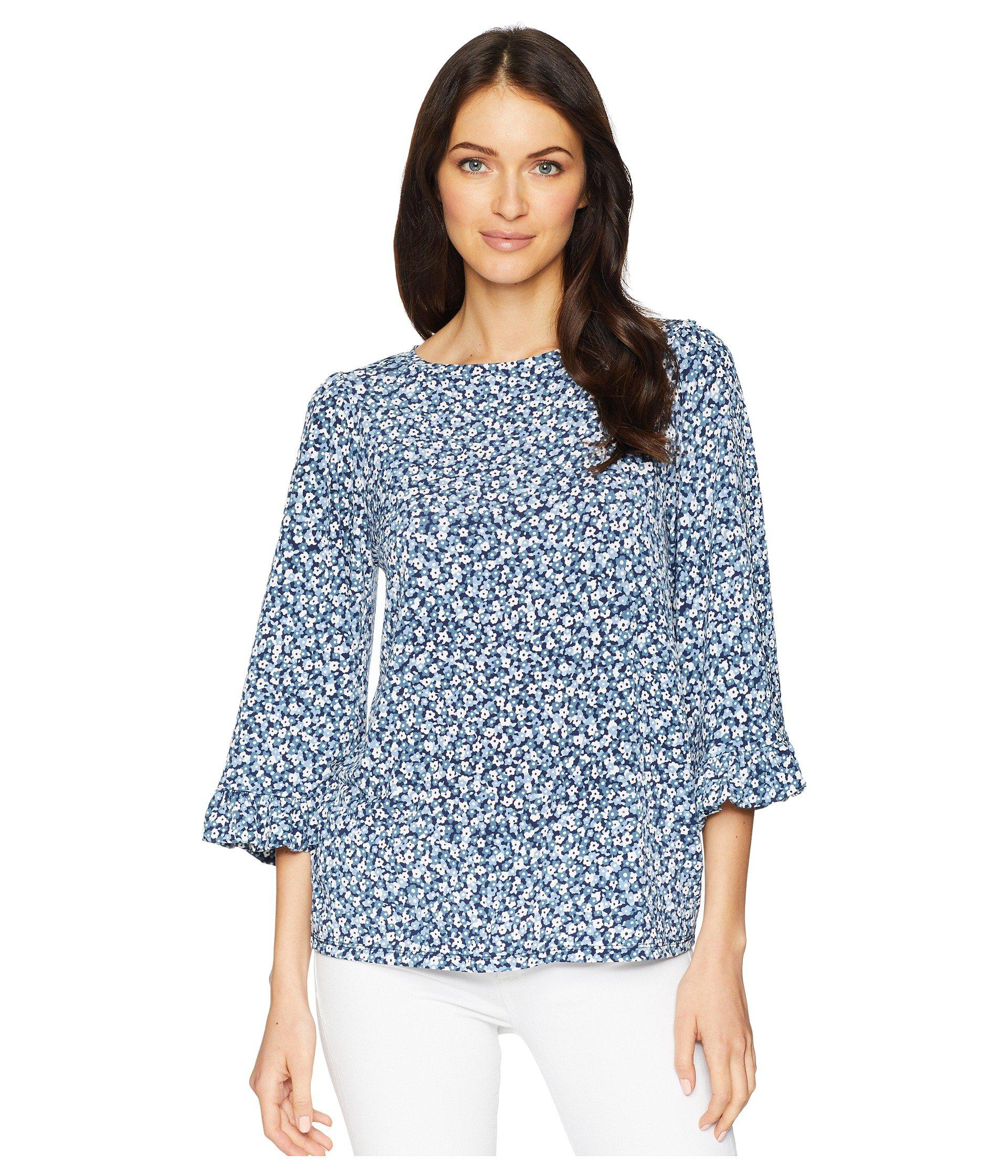 2e3154cc2aff5 Lyst - MICHAEL Michael Kors Collage Floral Flare Sleeve Top in Blue ...