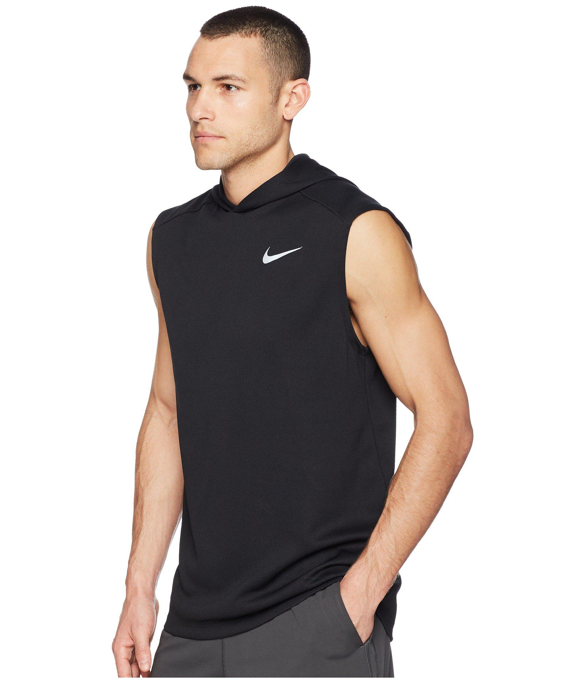 82f3a455 Nike Dry Top Sleeveless Running Hoodie in Black for Men - Lyst