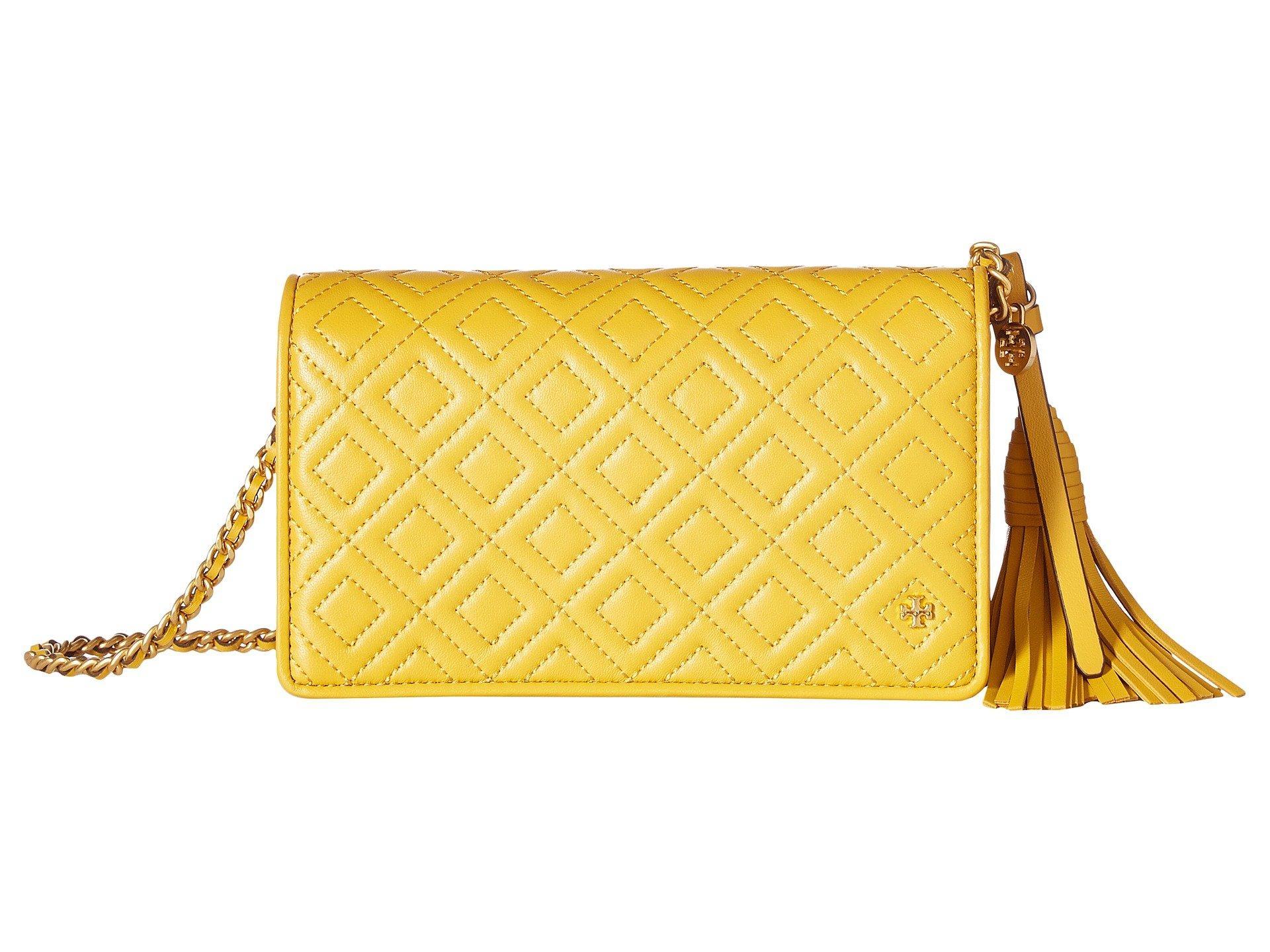 1218600ea6a9 Lyst - Tory Burch Fleming Flat Wallet Crossbody in Yellow