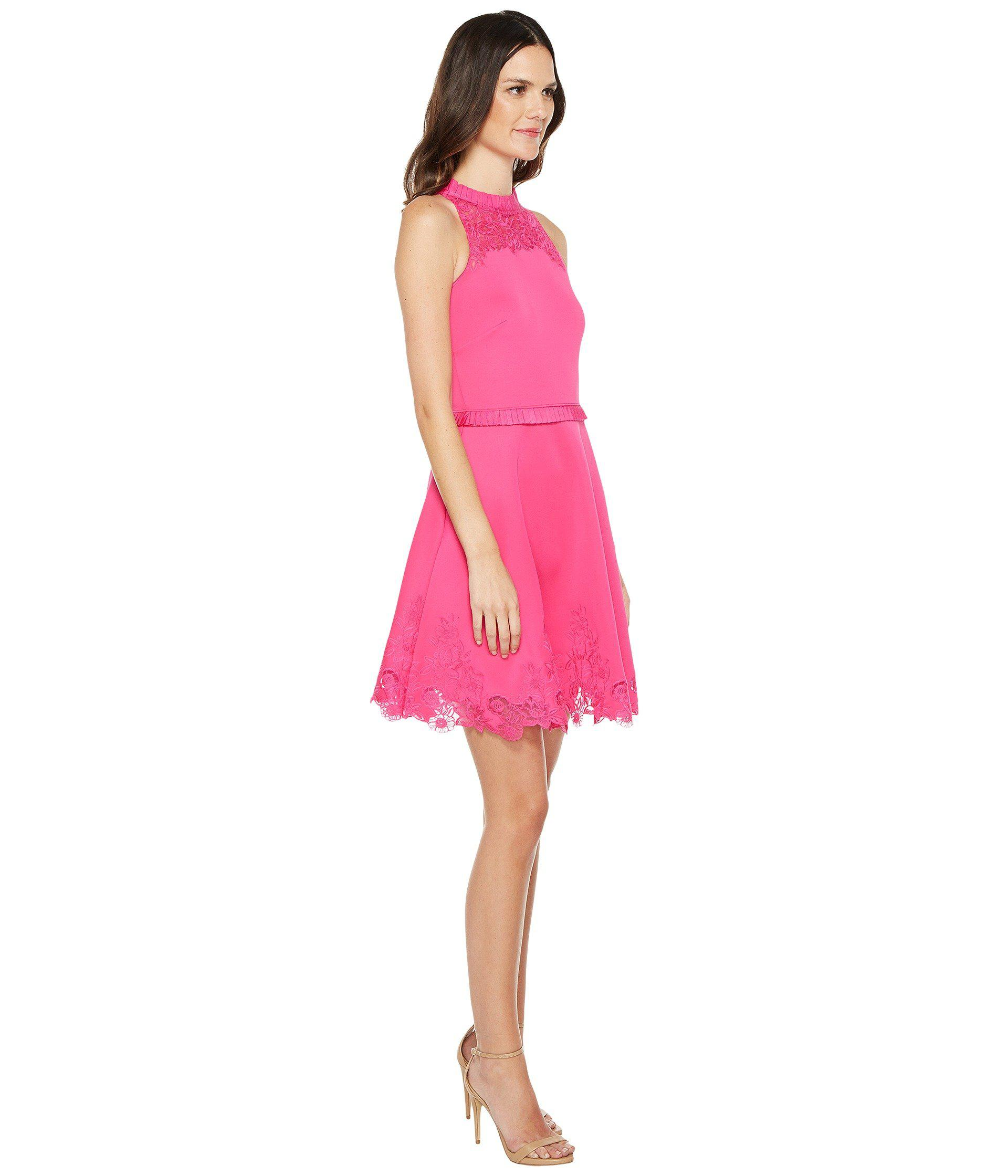 8323b1a2242230 ... Lyst - Ted Baker Zaffron Embroidered Skater Dress in Pink exquisite  design 398a2 56a49 ...