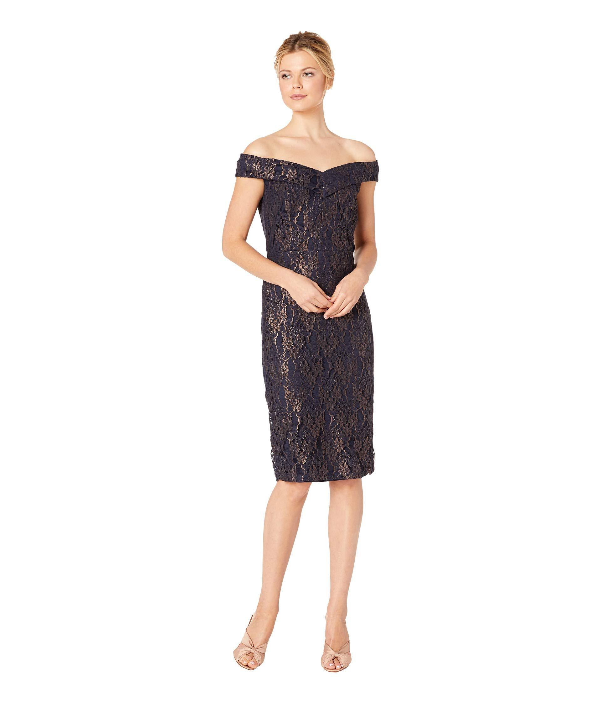450f89f1a0 Lyst - Eci Off The Shoulder Sweetheart Neck Foil Lace Sheath in Blue
