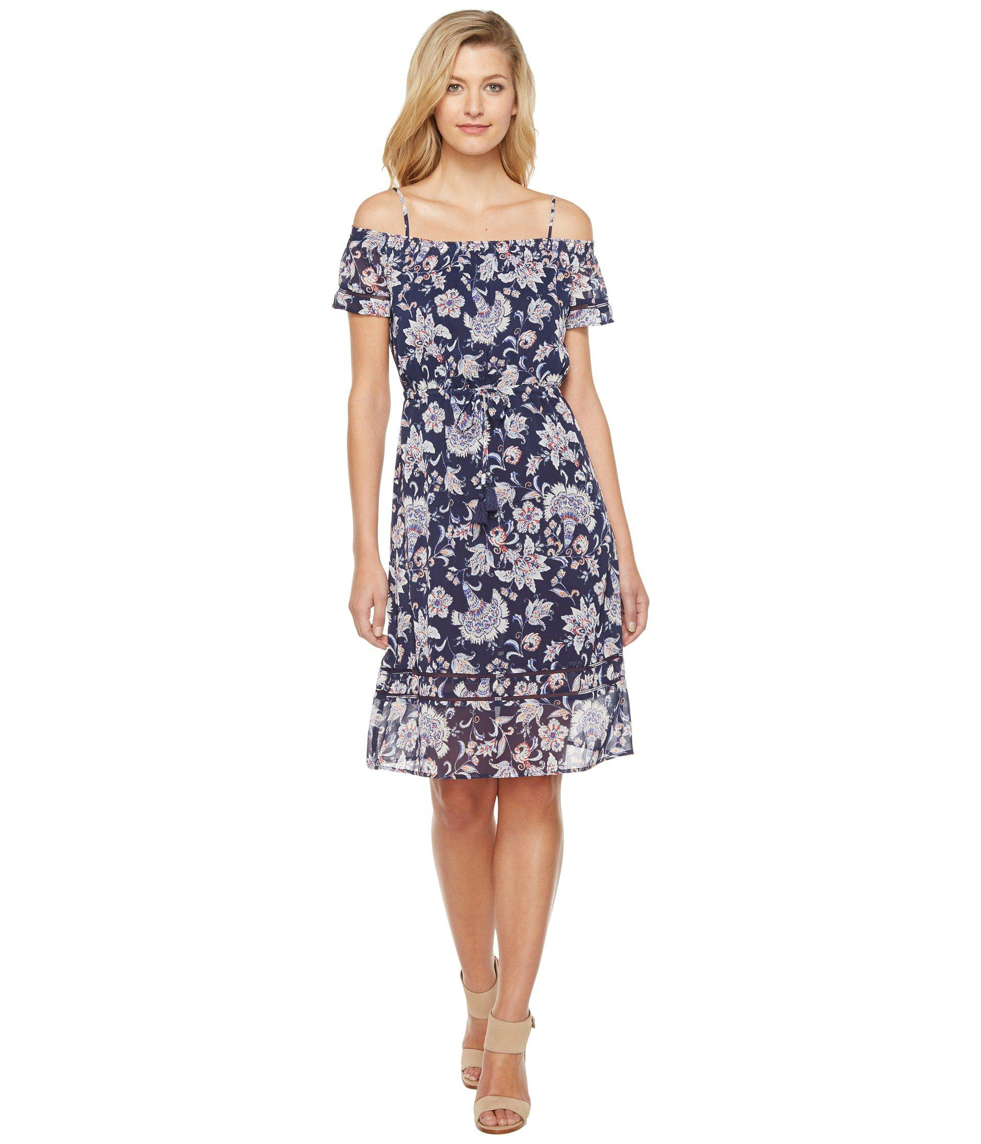 ae283ef17e78d Lyst - Lucky Brand Cold Shoulder Dress in Blue - Save 42%