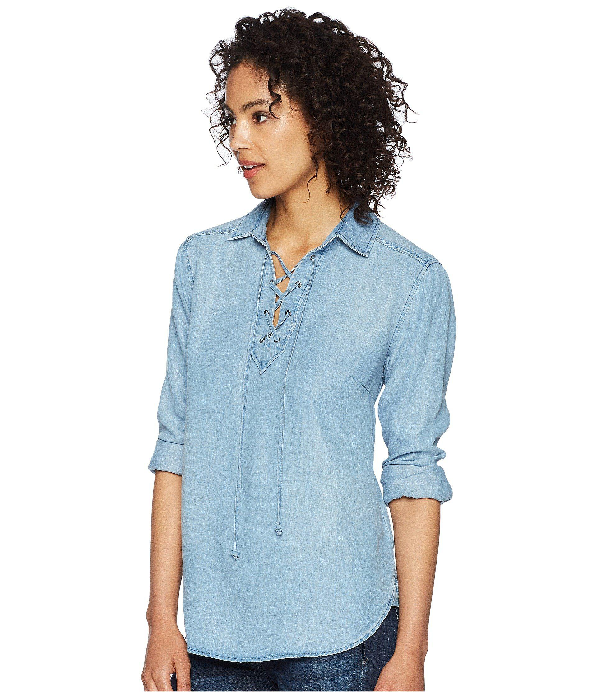 8eab458f84e Lyst - Liverpool Jeans Company Lace-up Front Shirt in Blue - Save 51%