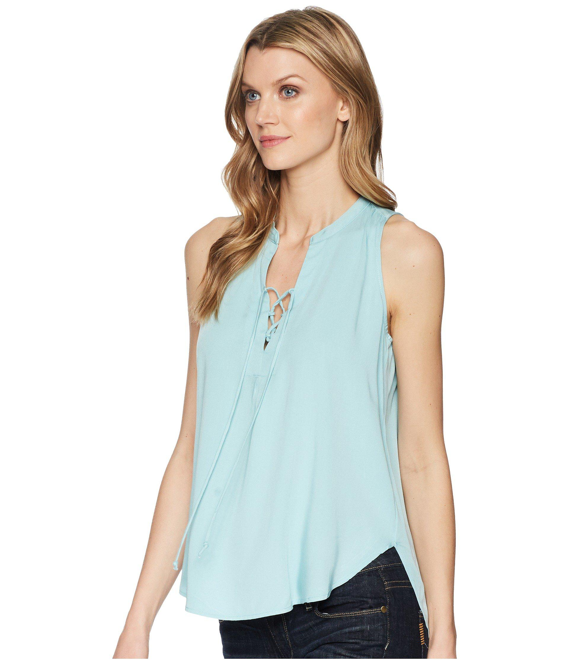 d2e570ce8f434 Lyst - Stetson 1580 Rayon Crepe Laced Loose Tank Top in Blue - Save 27%