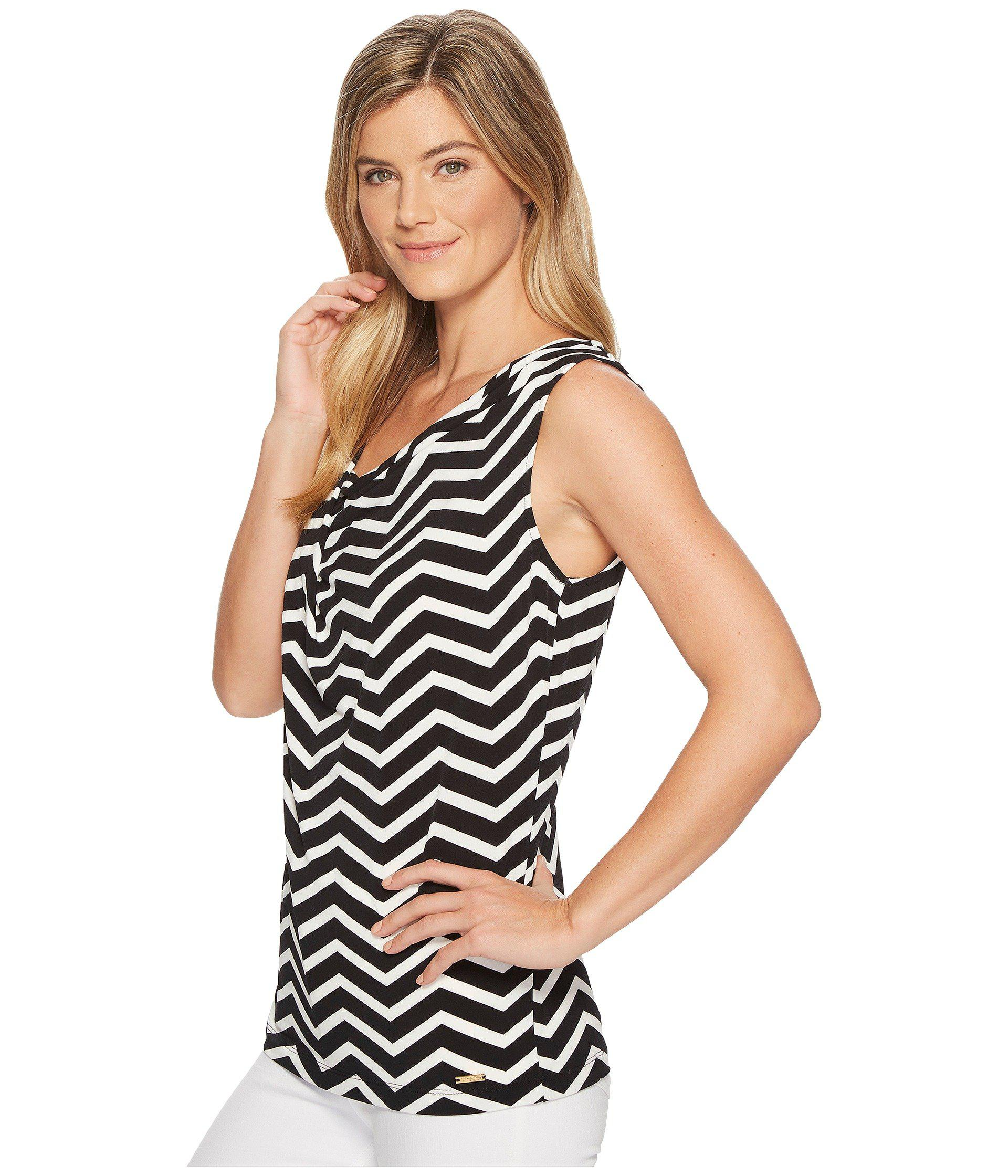 1d6f3eb3a2482 Lyst - Ivanka Trump Sleeveless Cowl Neck Printed Blouse in Black - Save 50%