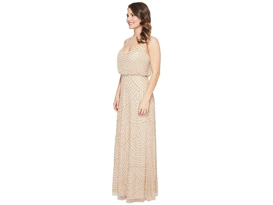 bd34042d7 Adrianna Papell - Natural Petite Long Beaded Blouson Slip Dress  (champ/gold) Dress. View fullscreen