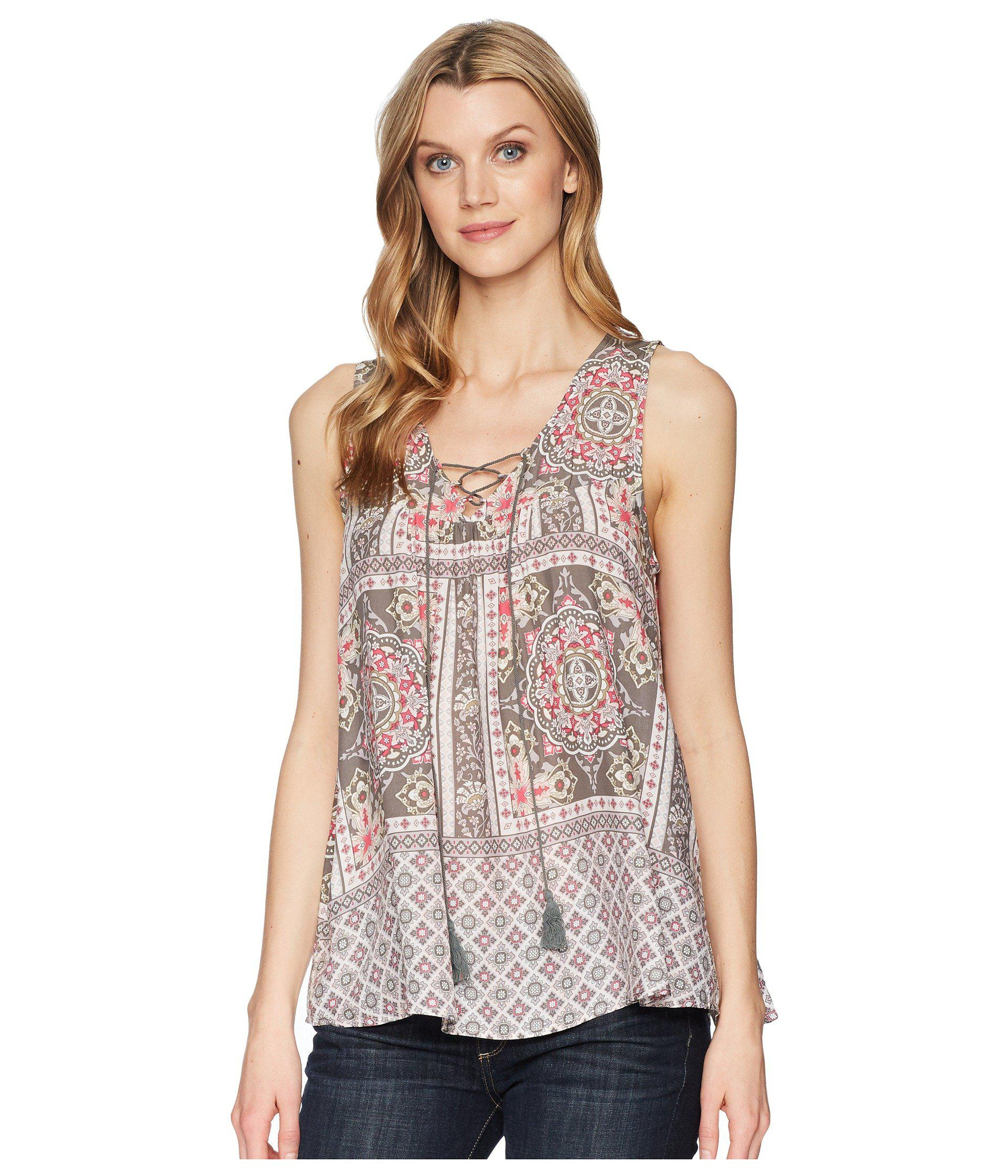 2adb55f8d0043 Lyst - Roper 1574 Sleeveless Scarf Print Peasant Top in Pink - Save 38%
