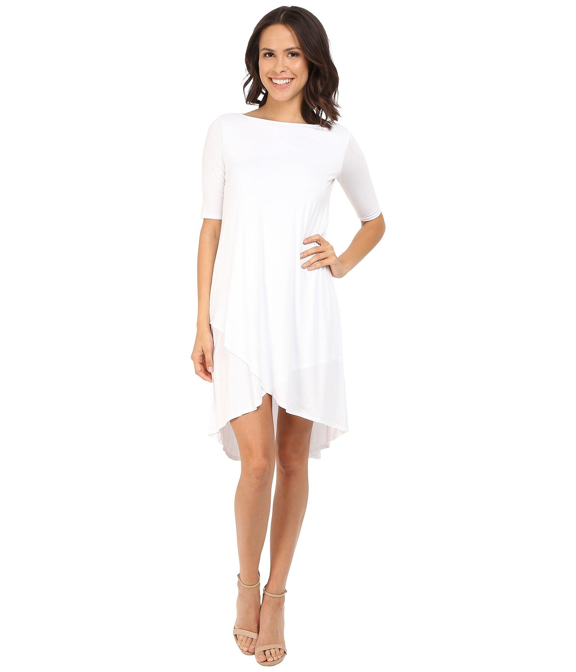55abcf23f4 Lyst - Three Dots Olya A 3/4 Sleeve High-low Dress in White