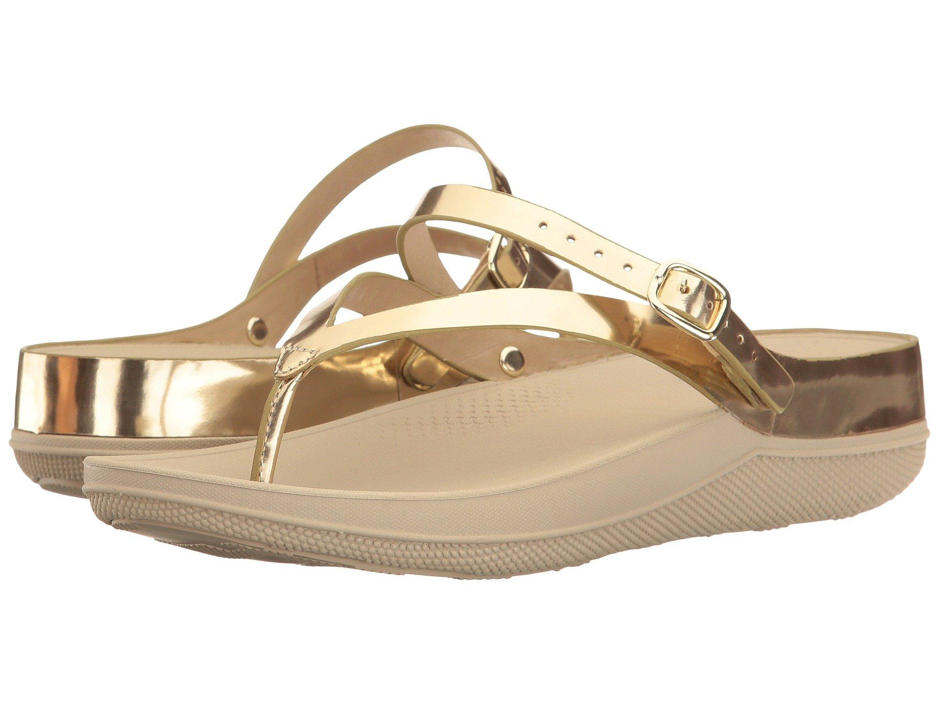 cb7310c5b7f78 Lyst - Fitflop Flip Leather Sandals in Metallic