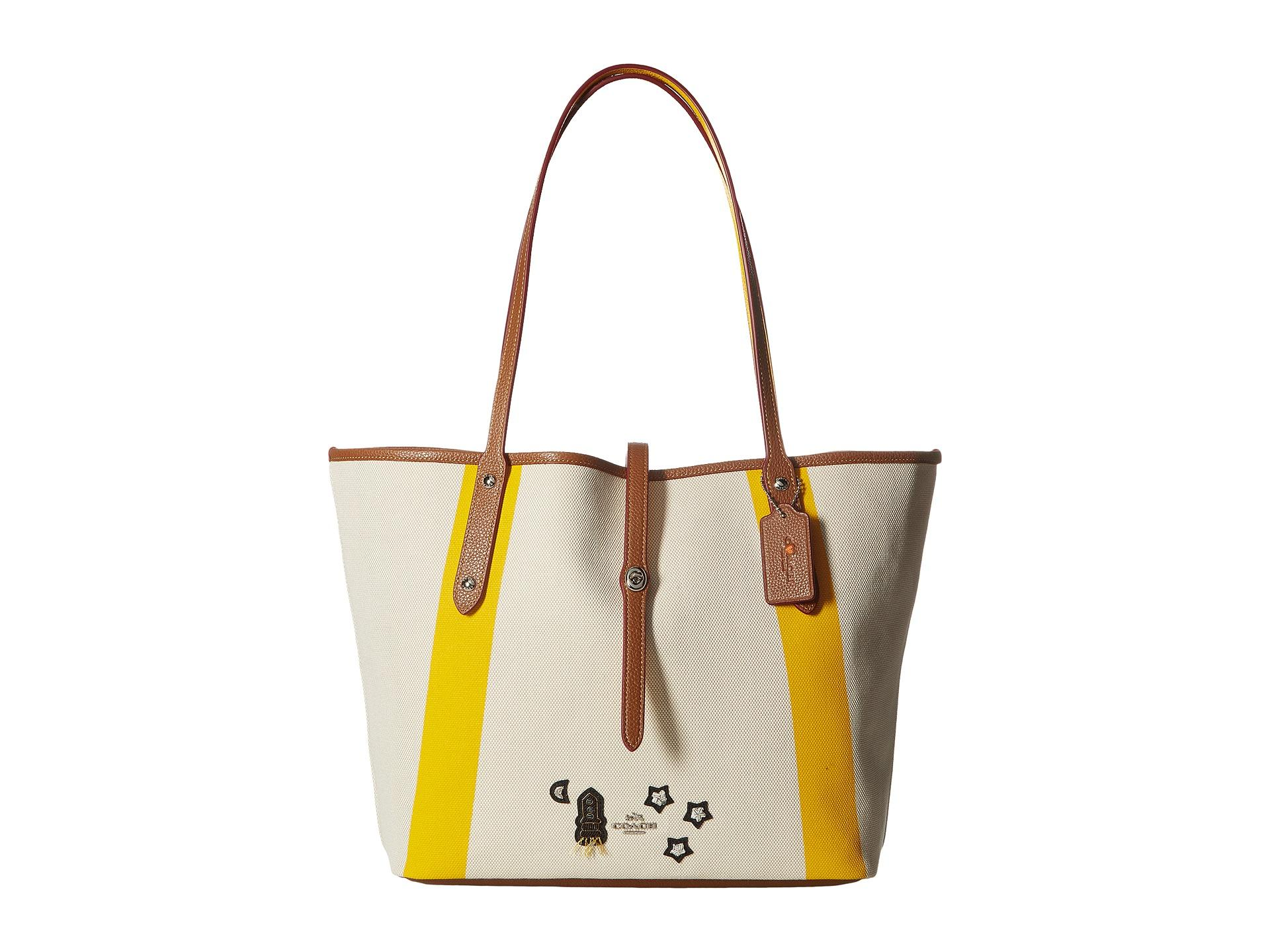 839e9d1a235e5 Lyst - COACH Souvenir Embroidery Detail Market Tote in Yellow