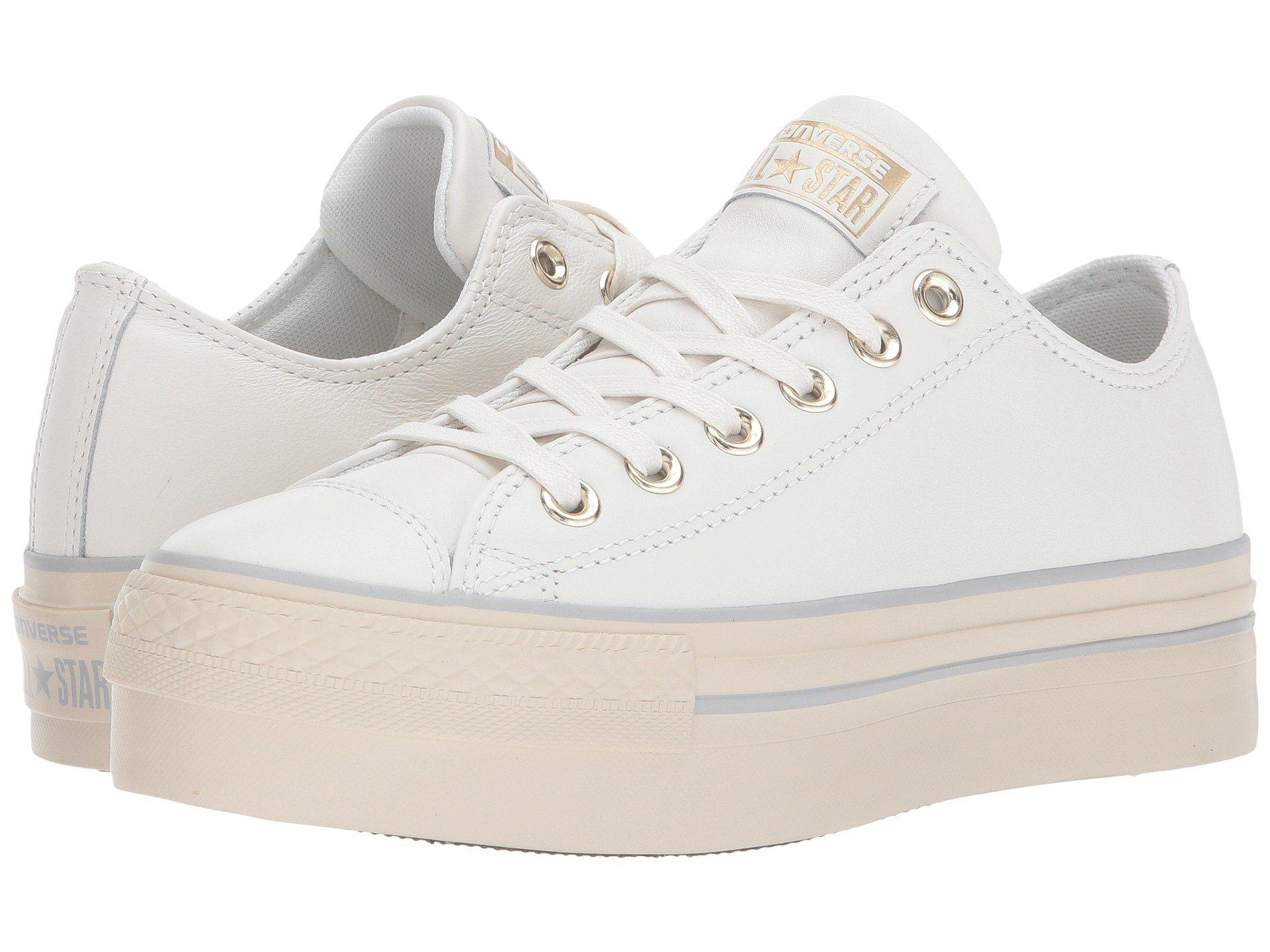3ab89cd0e9b Lyst - Converse Chuck Taylor® All Star® Platform Leather Ox in White