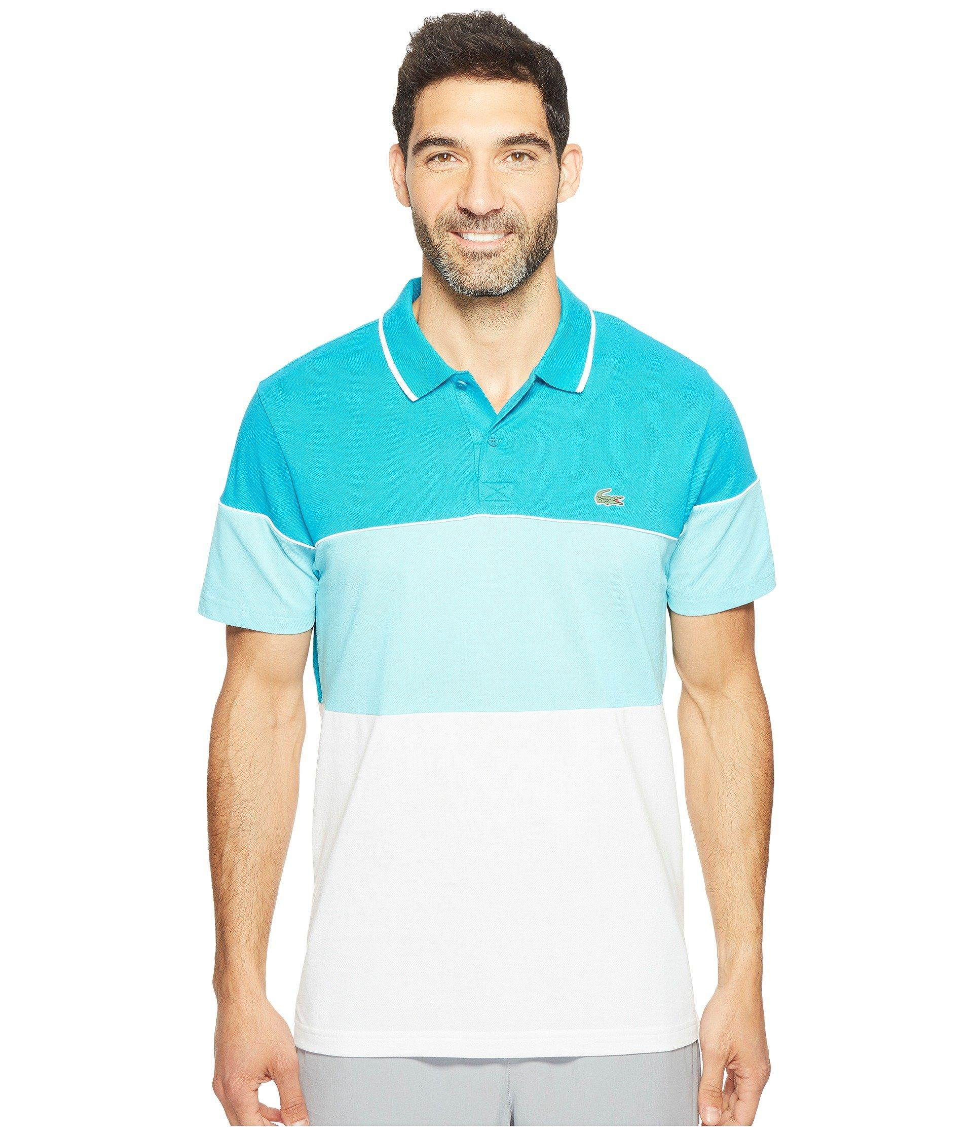 3c00ca48 Lyst - Lacoste Golf Color Block Stripe Ultra Dry Pique Knit in Blue ...