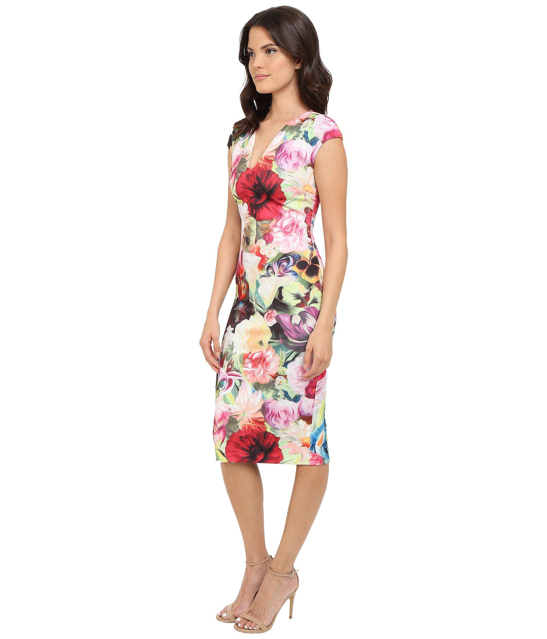 6cb29cc837dd0 Lyst - Ted Baker Odeela Floral Swirl Print Dress in Red