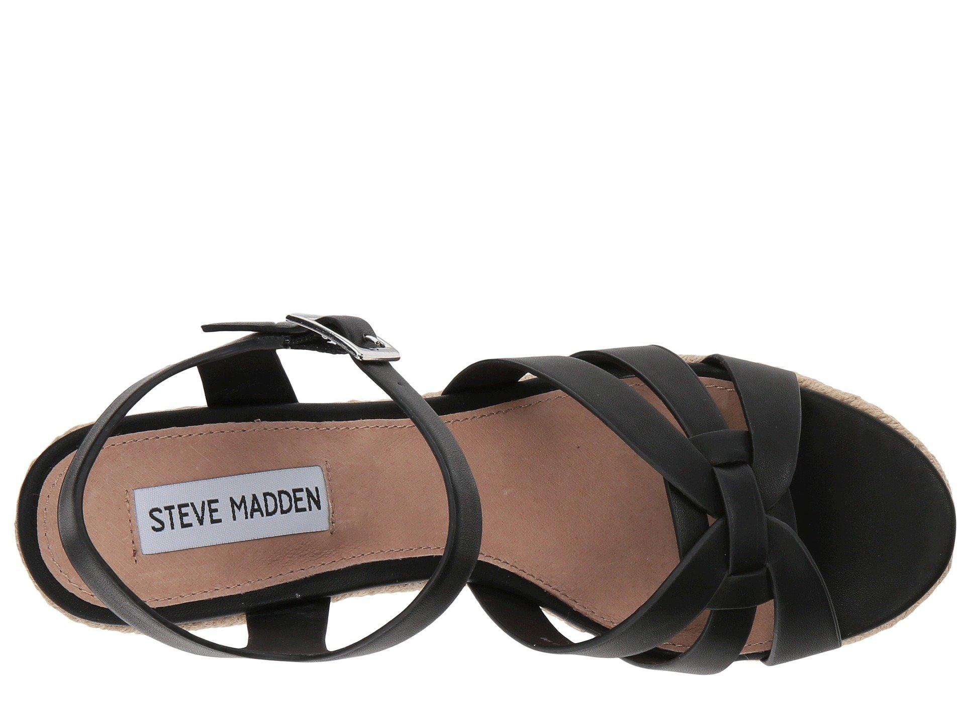 cec04bb582b Steve Madden - Black Knight Wedge Sandal - Lyst. View fullscreen