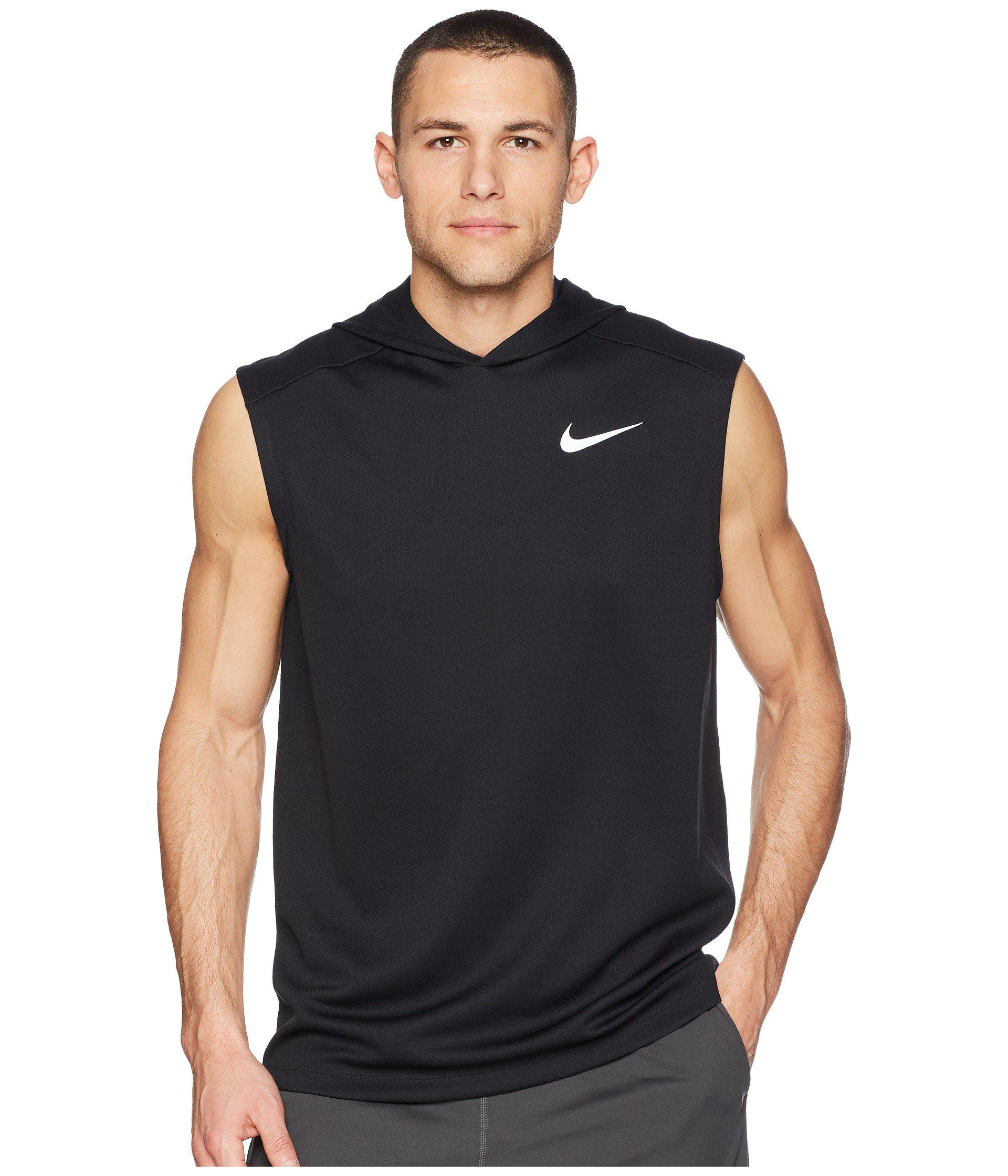 f4d9539c3d7294 Lyst - Nike Dry Top Sleeveless Running Hoodie in Black for Men