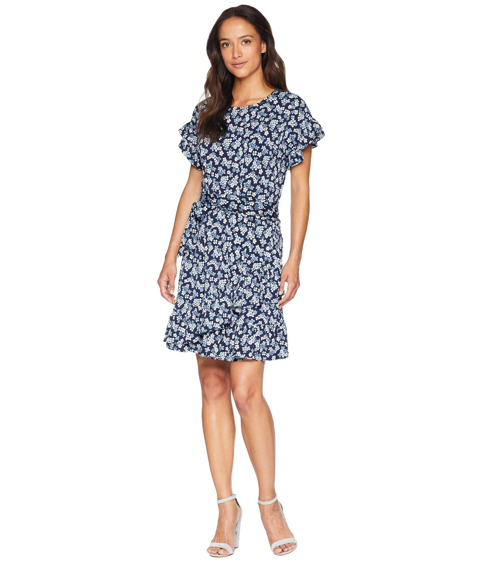 fd62b7fc49 Lyst - MICHAEL Michael Kors Cherry Ruffle Wrap Dress in Blue - Save 40%