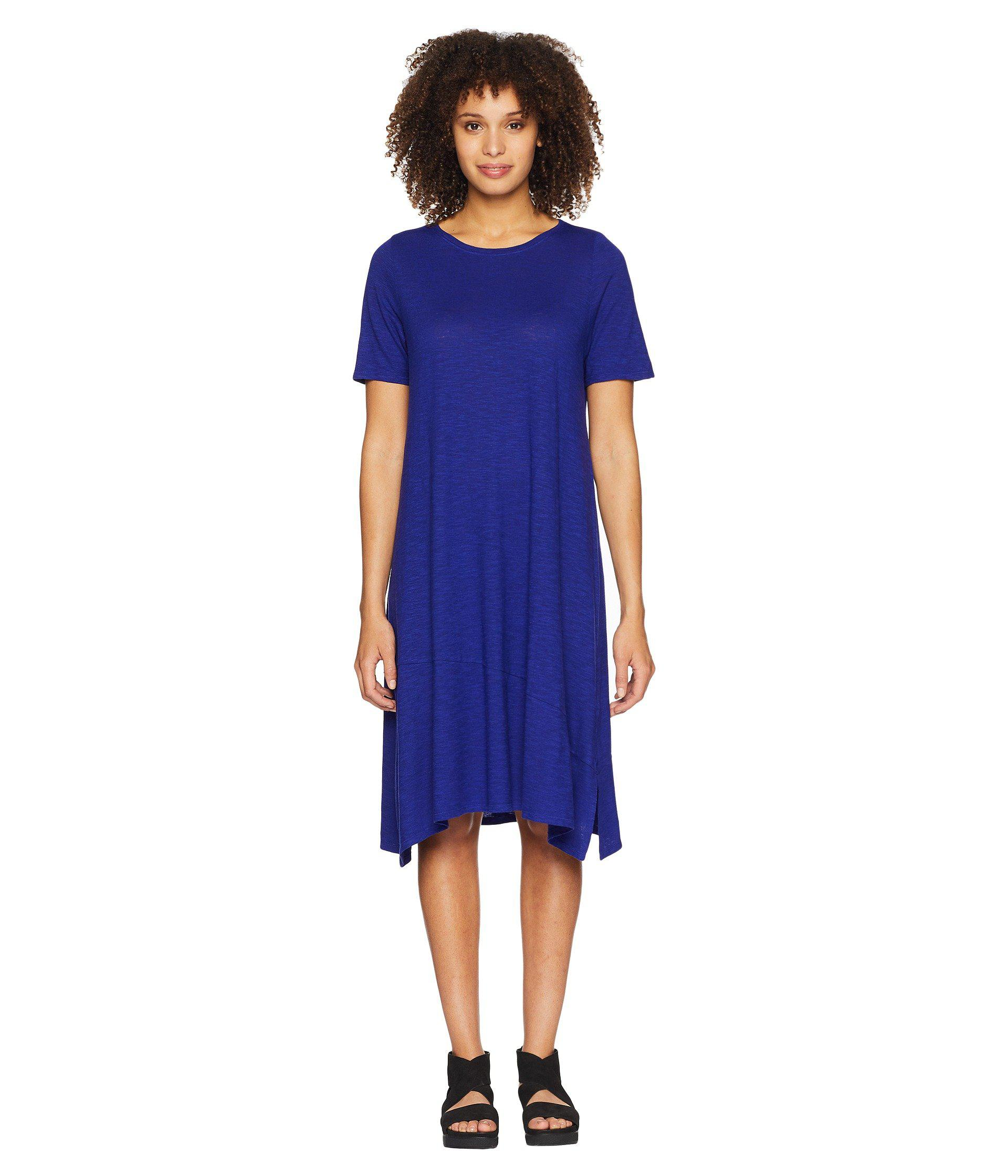 61e744c7e97f96 Lyst - Eileen Fisher Jewel Neck Dress in Blue - Save 50%
