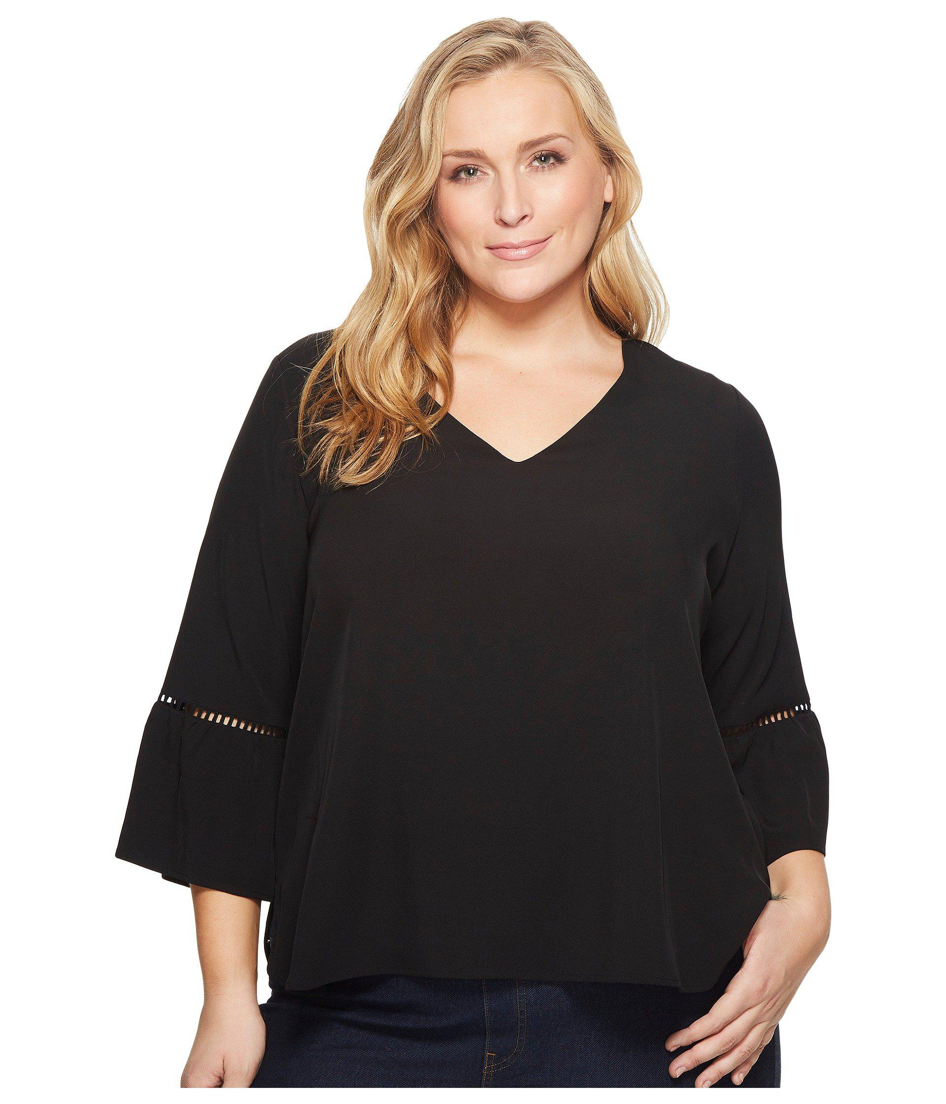 69bee43d53c Lyst - Calvin Klein Plus Size Bell Sleeve W  Lace Detail in Black ...