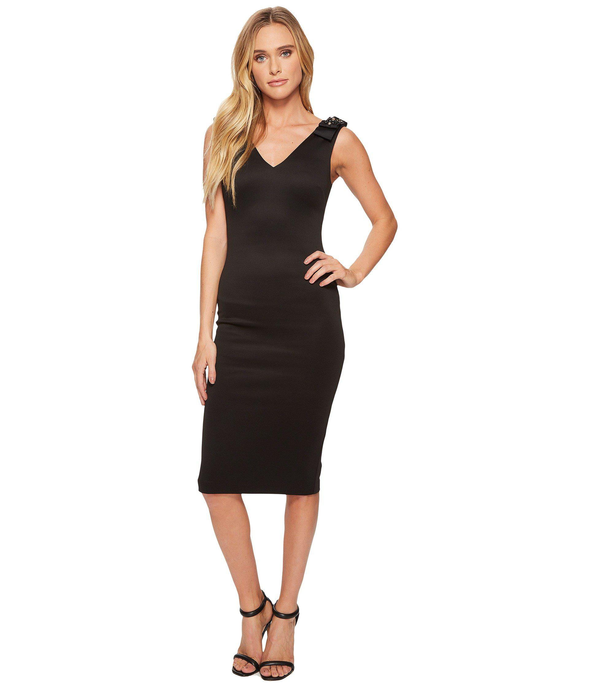 b1d27822ab635 Lyst - Ted Baker Belliah Bow Shoulder Bodycon Dress in Black