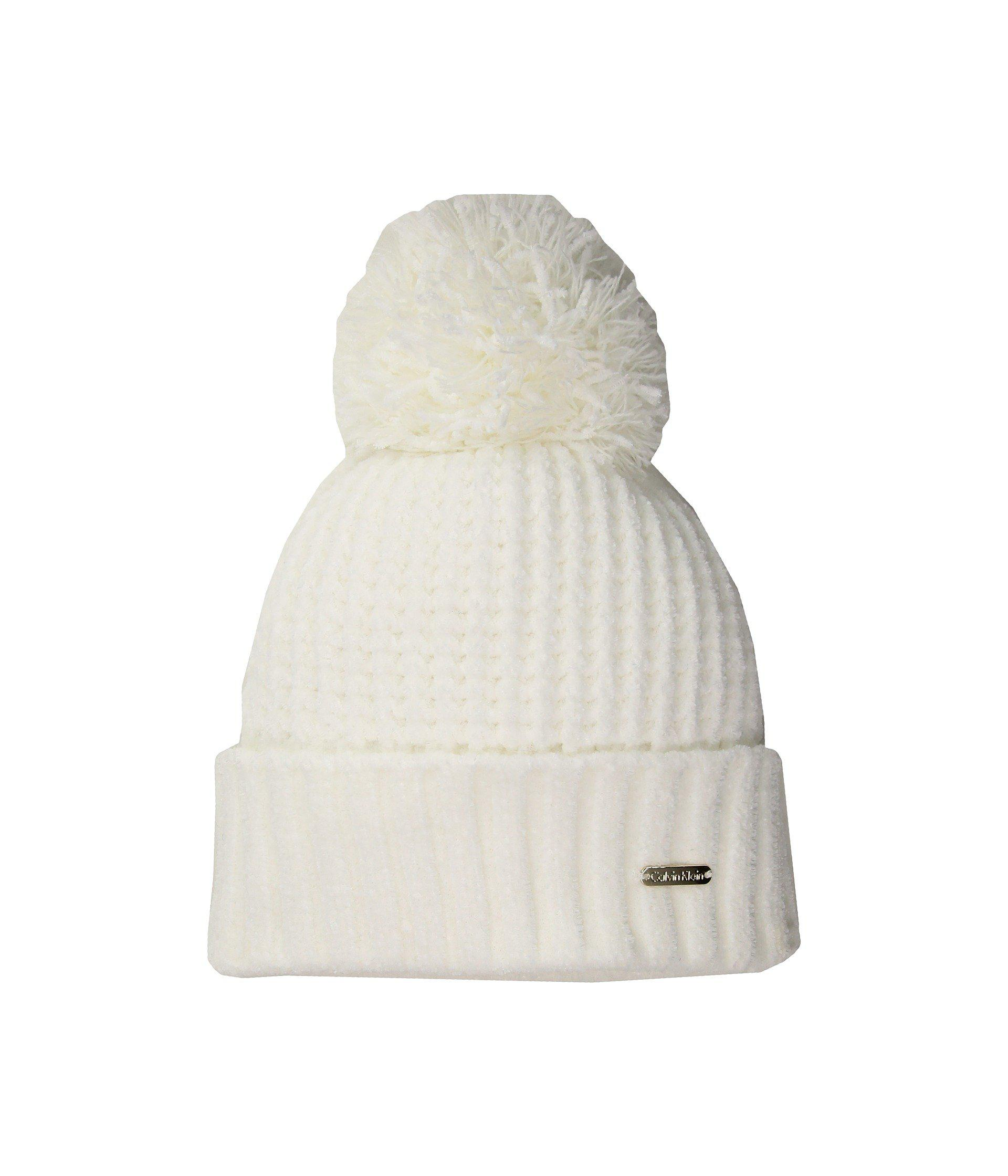 85f65ebc386 Lyst - Calvin Klein Chenille Hat With Pom in Natural