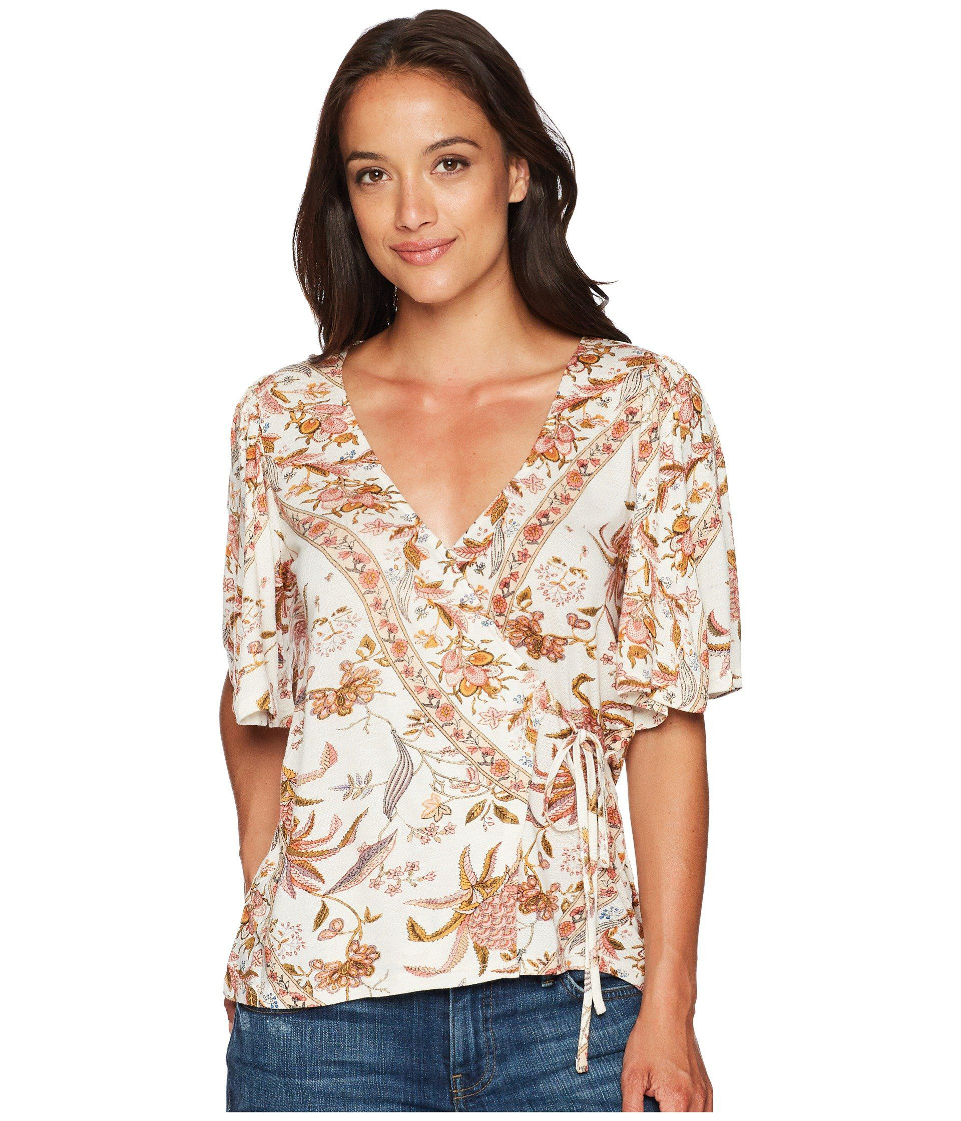 01ee79205df947 Lyst - Lucky Brand Floral Print Wrap Top in Brown - Save 19%