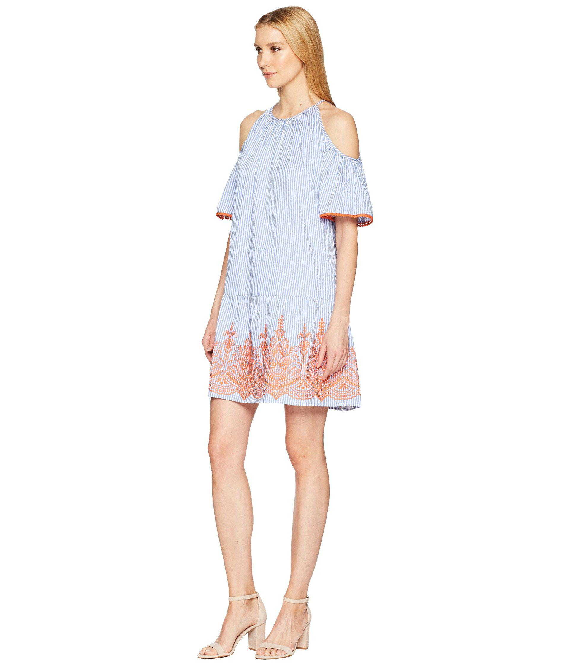 41d233b8 Lyst - Maggy London Embroidery Stripe Cold Shoulder Shift Dress in Blue -  Save 47%