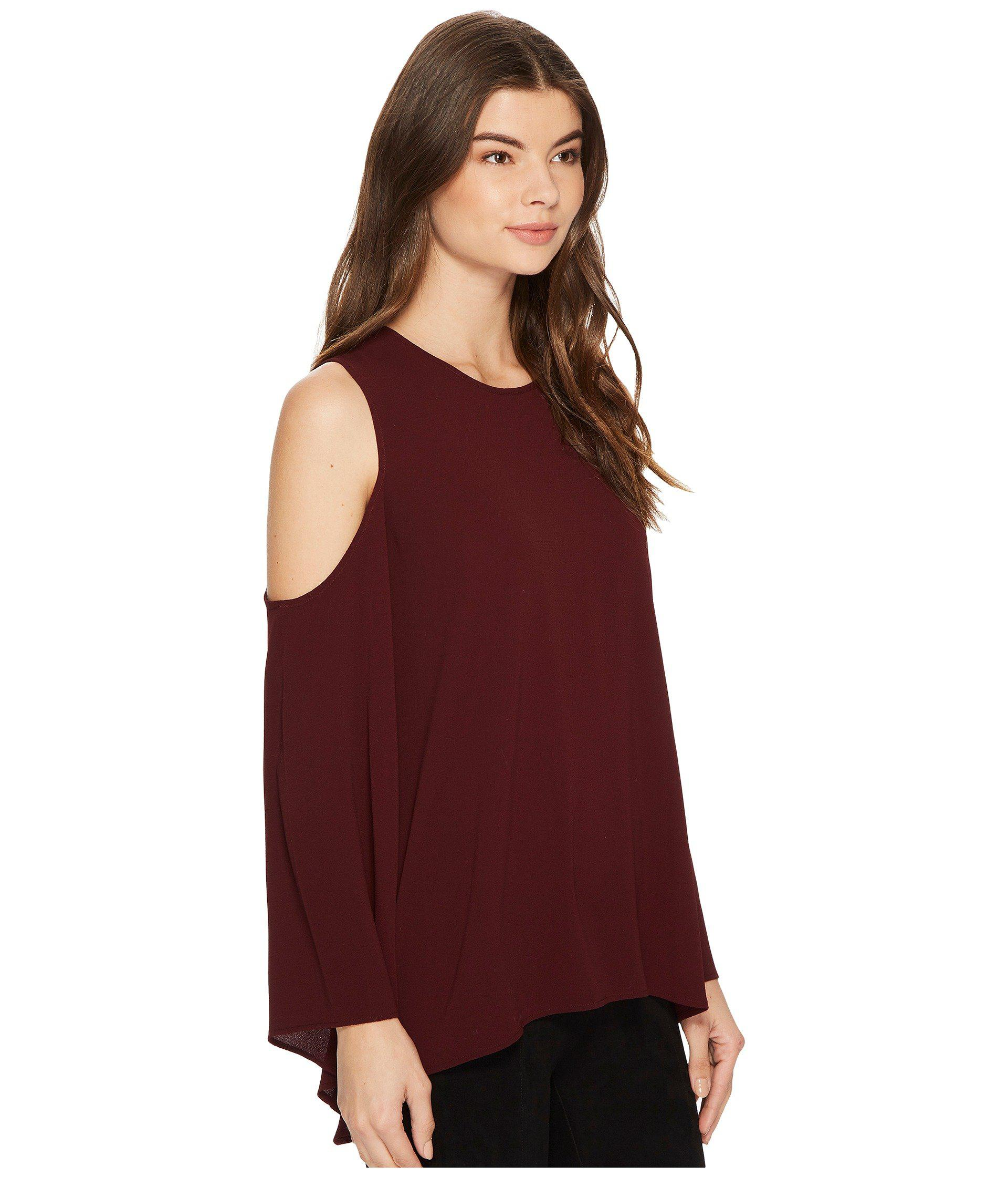 62e93d8ebeb240 Lyst - Vince Camuto Bell Sleeve Cold Shoulder Blouse in Red