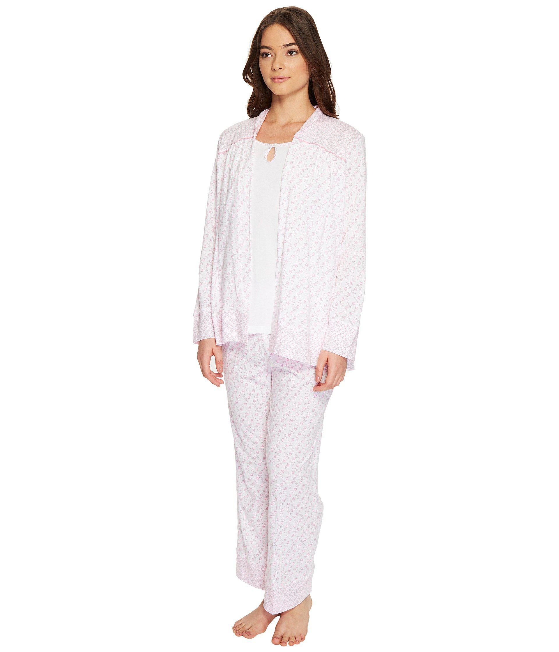 Lyst - Carole Hochman Three-piece Cotton Pj Set in White f965e79bc
