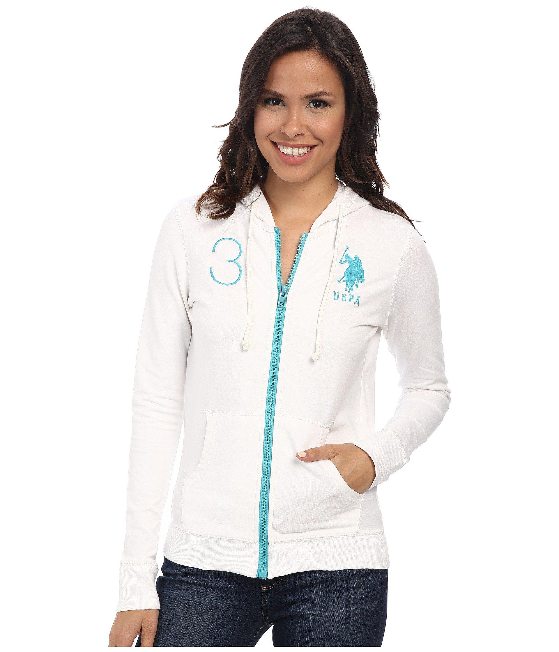 U.S. POLO ASSN. Womens Neon Pop French Terry Hoodie Optic White - Hoodies & Sweatshirts