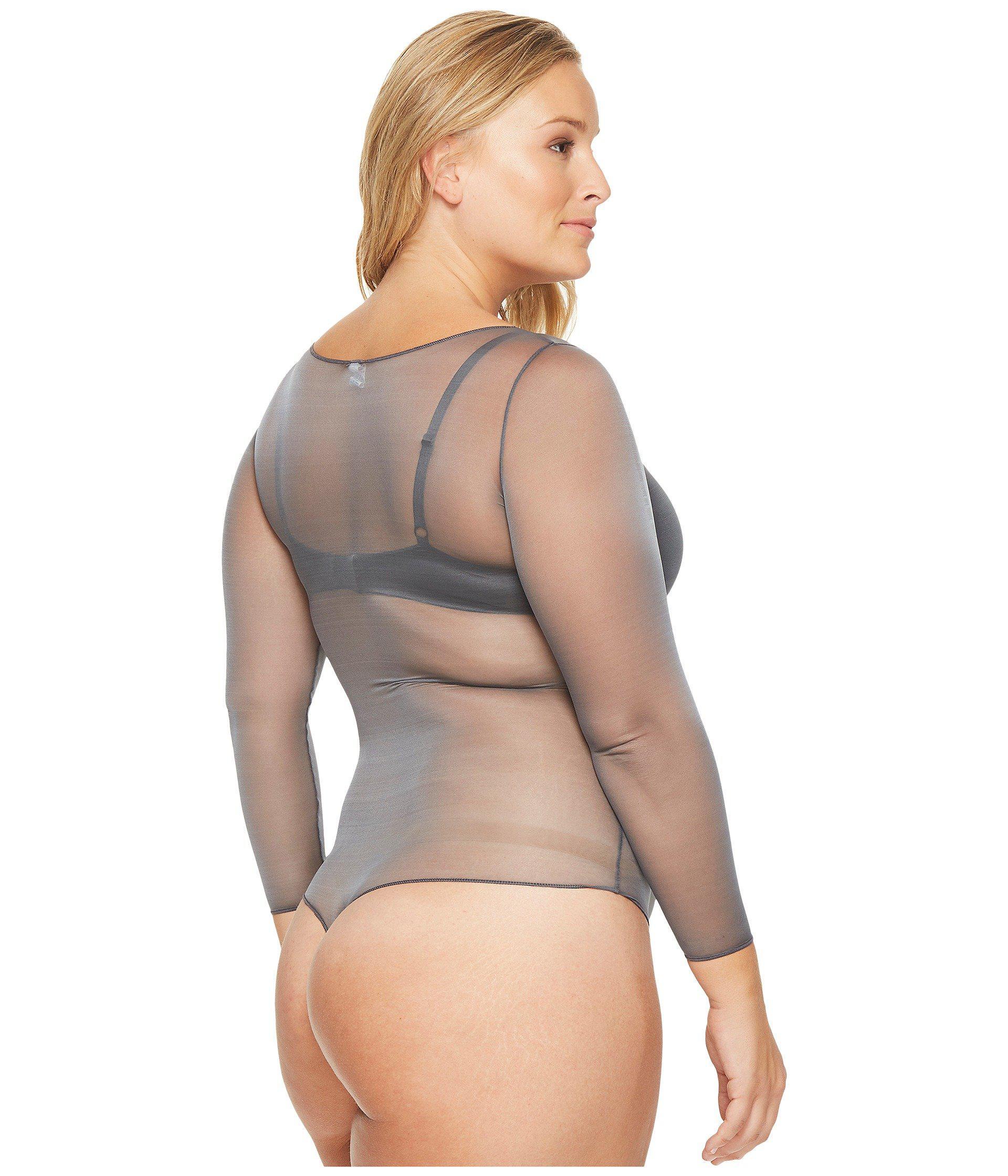 2f7e048dad Lyst - Spanx Plus Size Sheer Fashion Mesh Thong Bodysuit in Gray